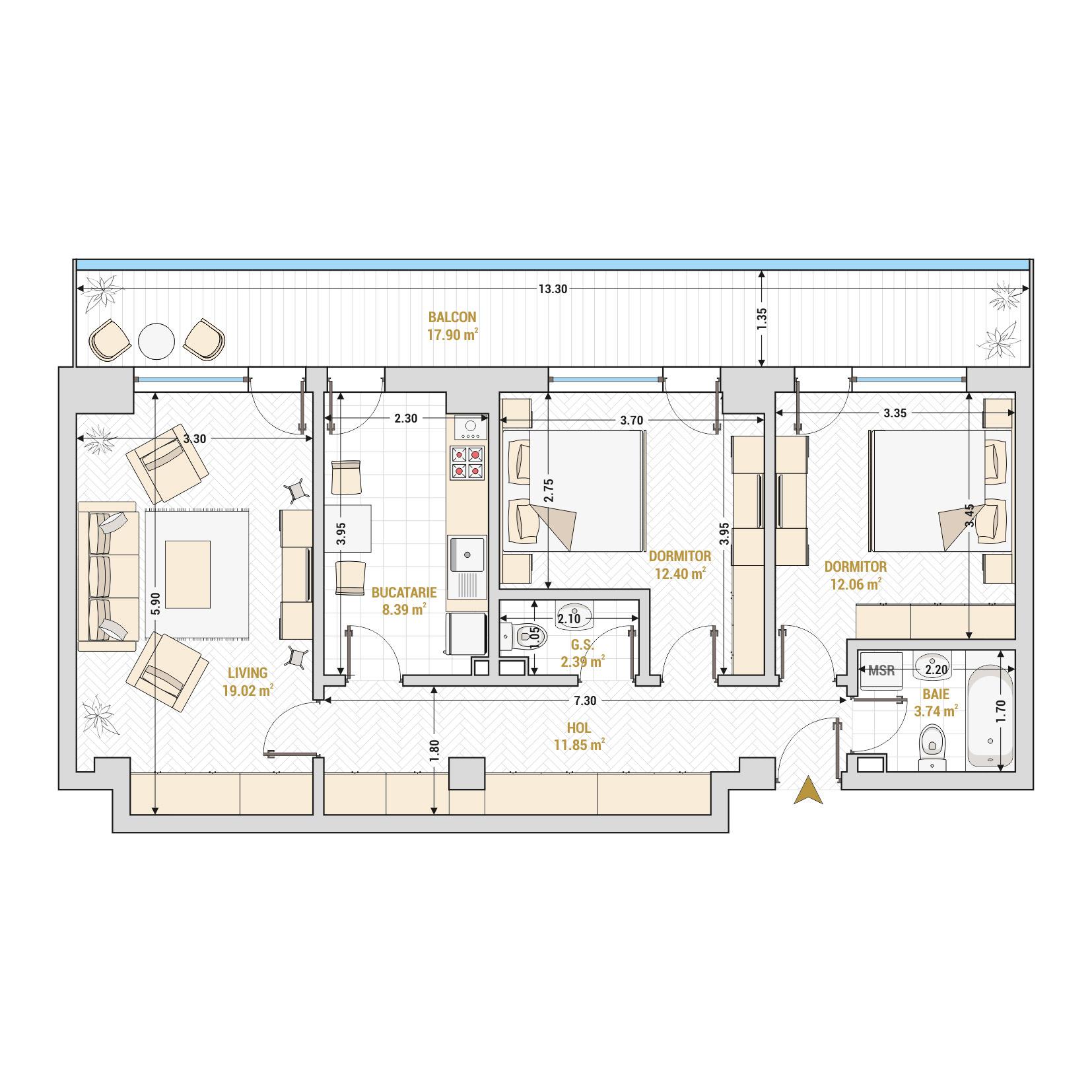 Apartament 3 camere de vanzare Bucuresti - Catedral Residence - Marriott, Piata Unirii, 13 Septembrie, Izvor - Tip 5 - T2A
