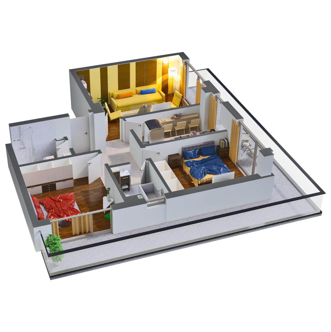 Apartament 3 camere de vanzare Bucuresti - Catedral Residence - Marriott, Piata Unirii, 13 Septembrie, Izvor - Tip 6 - T2 - B