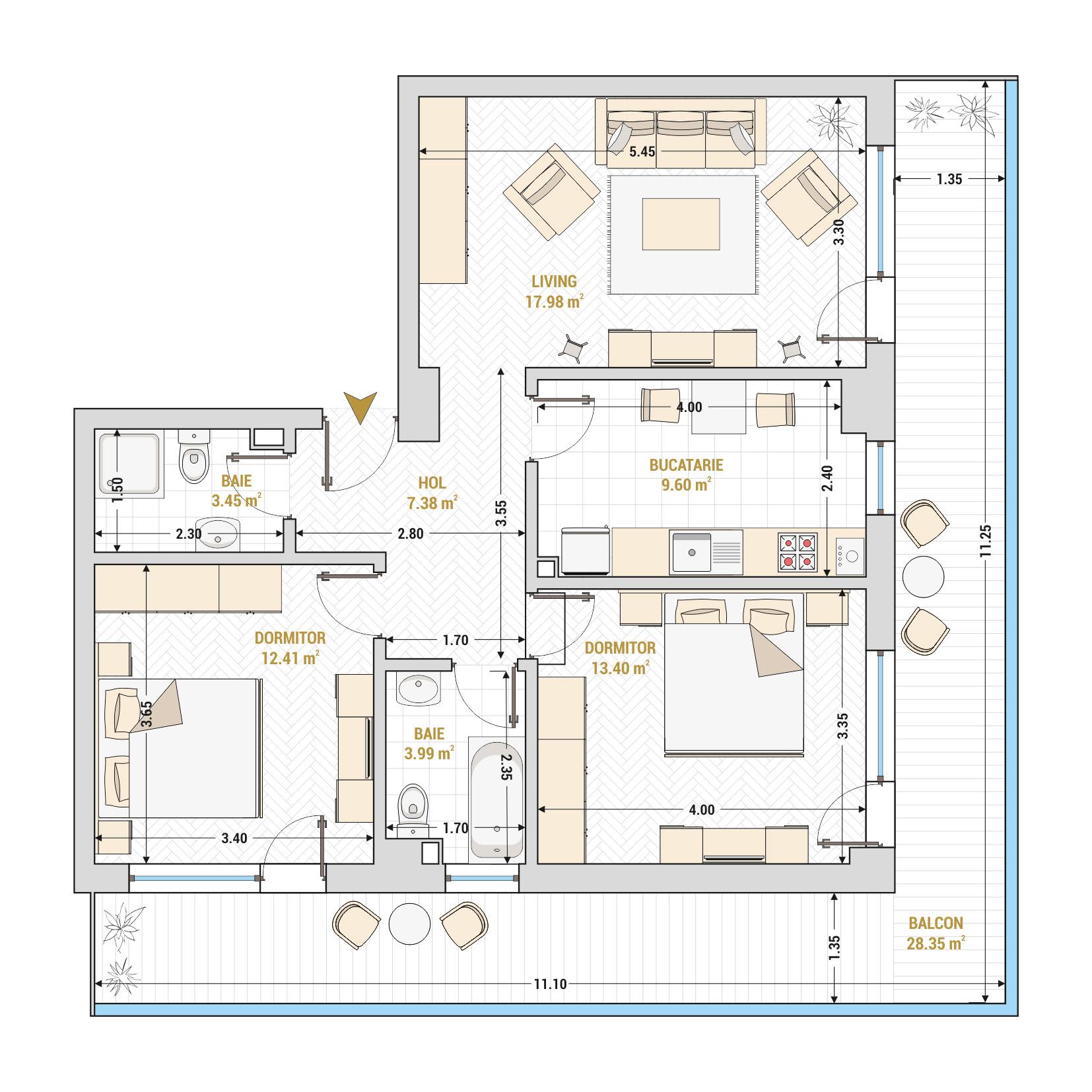 Apartament 3 camere de vanzare Bucuresti - Catedral Residence - Marriott, Piata Unirii, 13 Septembrie, Izvor - Tip 6 - T2