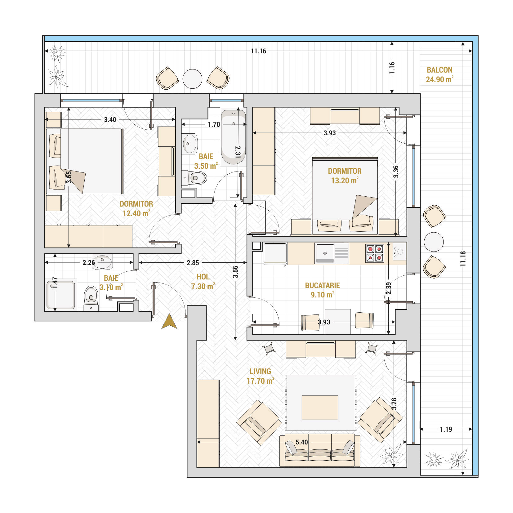 Apartamente cu 3 camere Bucuresti - Catedral Residence - Marriott, Piata Unirii, 13 Septembrie, Izvor - Suprafata utila totala - 91.20 metri patrati
