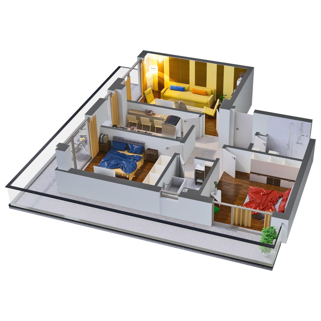 Apartament 3 camere de vanzare Bucuresti - Catedral Residence - Marriott, Piata Unirii, 13 Septembrie, Izvor - Tip 6 - T2A - B