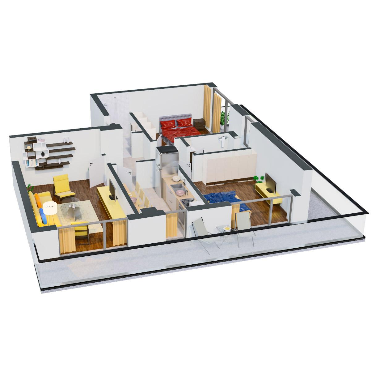Apartament 3 camere de vanzare Bucuresti - Catedral Residence - Marriott, Piata Unirii, 13 Septembrie, Izvor - Tip 6 - T2A - D