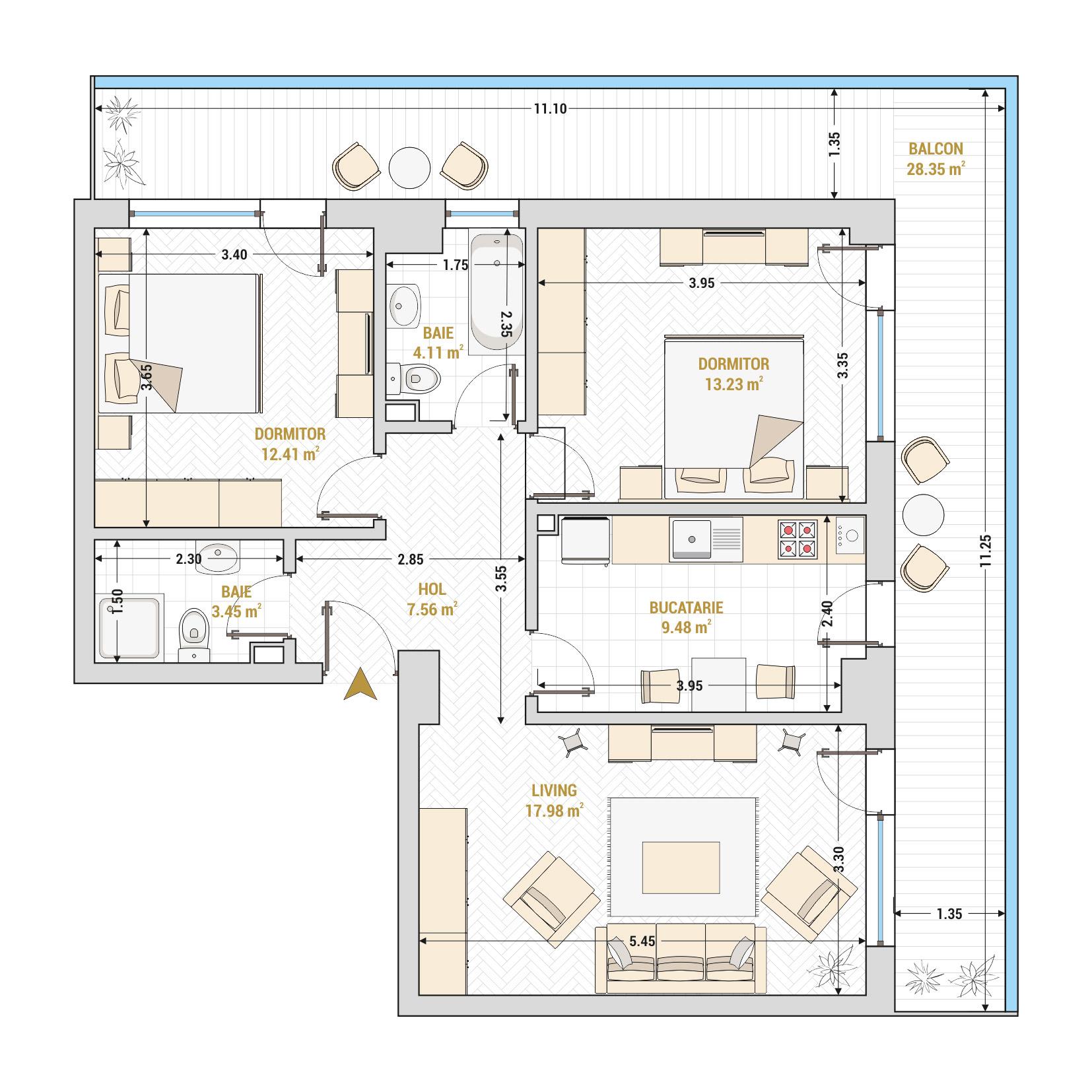 Apartament 3 camere de vanzare Bucuresti - Catedral Residence - Marriott, Piata Unirii, 13 Septembrie, Izvor - Tip 6 - T2A