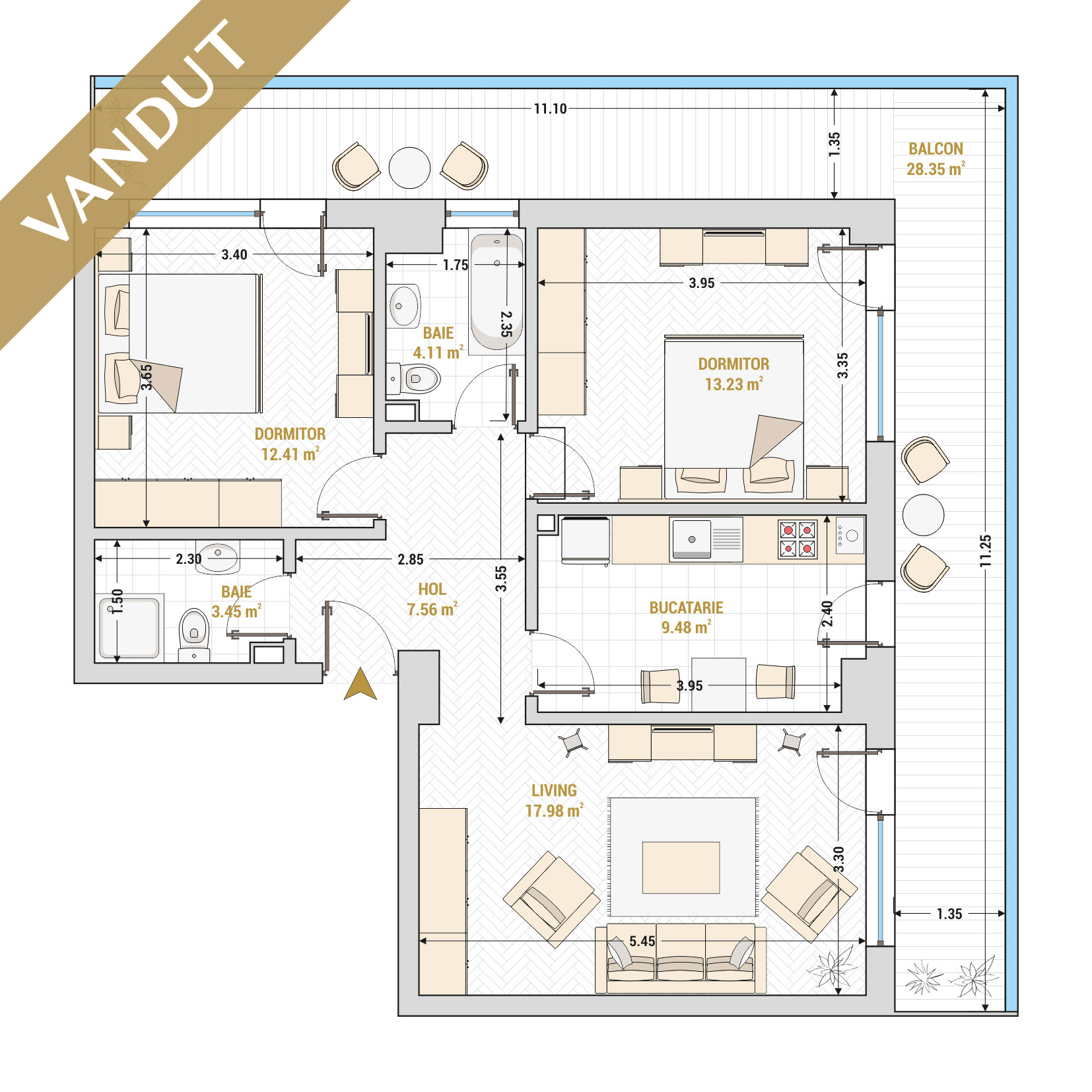 Apartament 3 camere de vanzare Bucuresti - Catedral Residence - Marriott, Piata Unirii, 13 Septembrie, Izvor - Tip 6 - T2A - V