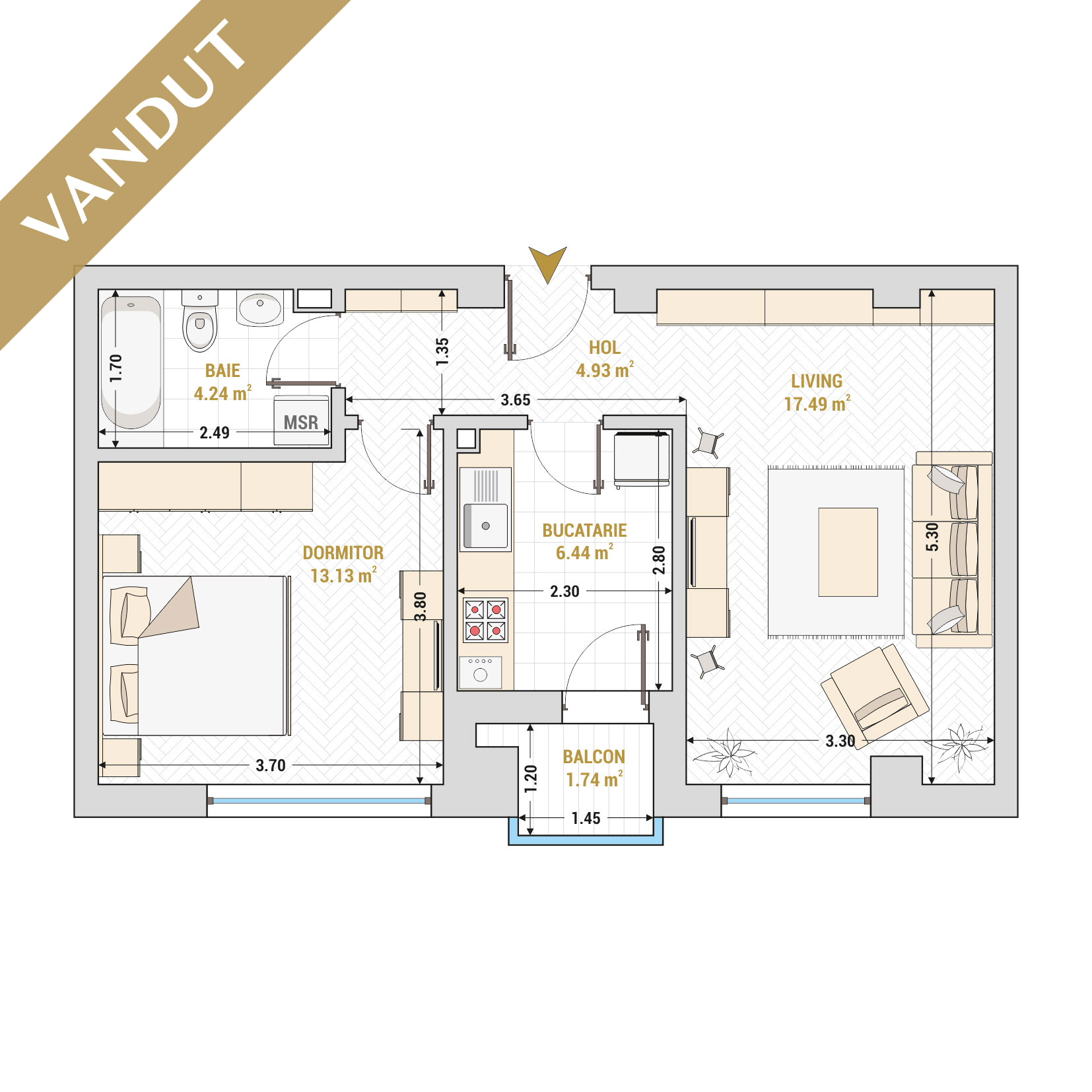 Apartament 2 camere de vanzare Bucuresti - Catedral Residence - Marriott, Piata Unirii, 13 Septembrie, Izvor - Tip 1 - T1 - V