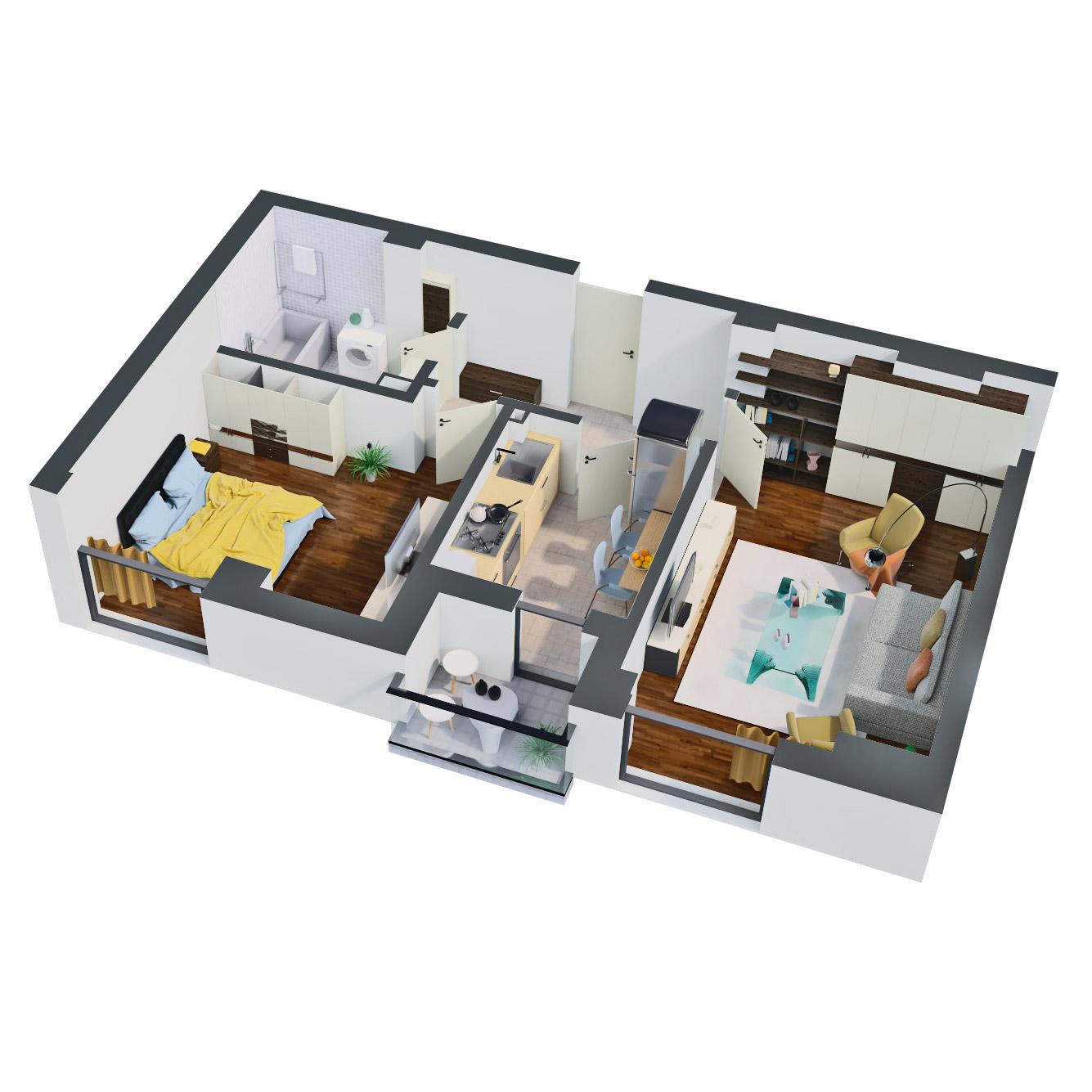 Apartament 2 camere de vanzare Bucuresti - Catedral Residence - Marriott, Piata Unirii, 13 Septembrie, Izvor - Tip 1 - T2 - B