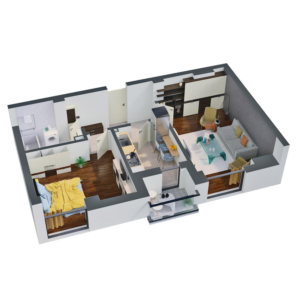 Apartament 2 camere de vanzare Bucuresti - Catedral Residence - Marriott, Piata Unirii, 13 Septembrie, Izvor - Tip 1 - T2 - C