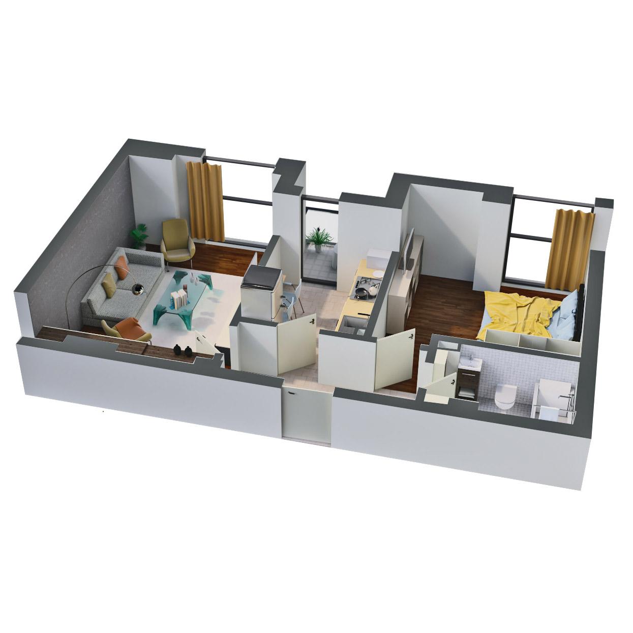 Apartament 2 camere de vanzare Bucuresti - Catedral Residence - Marriott, Piata Unirii, 13 Septembrie, Izvor - Tip 1 - T2 - D