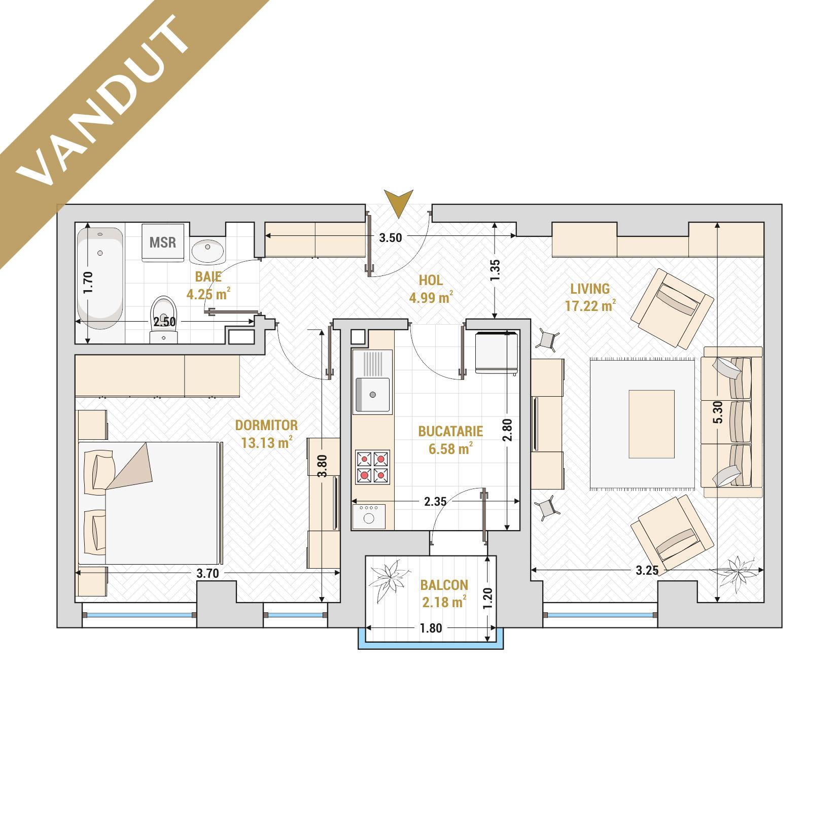 Apartament 2 camere de vanzare Bucuresti - Catedral Residence - Marriott, Piata Unirii, 13 Septembrie, Izvor - Tip 1 - T2 - V