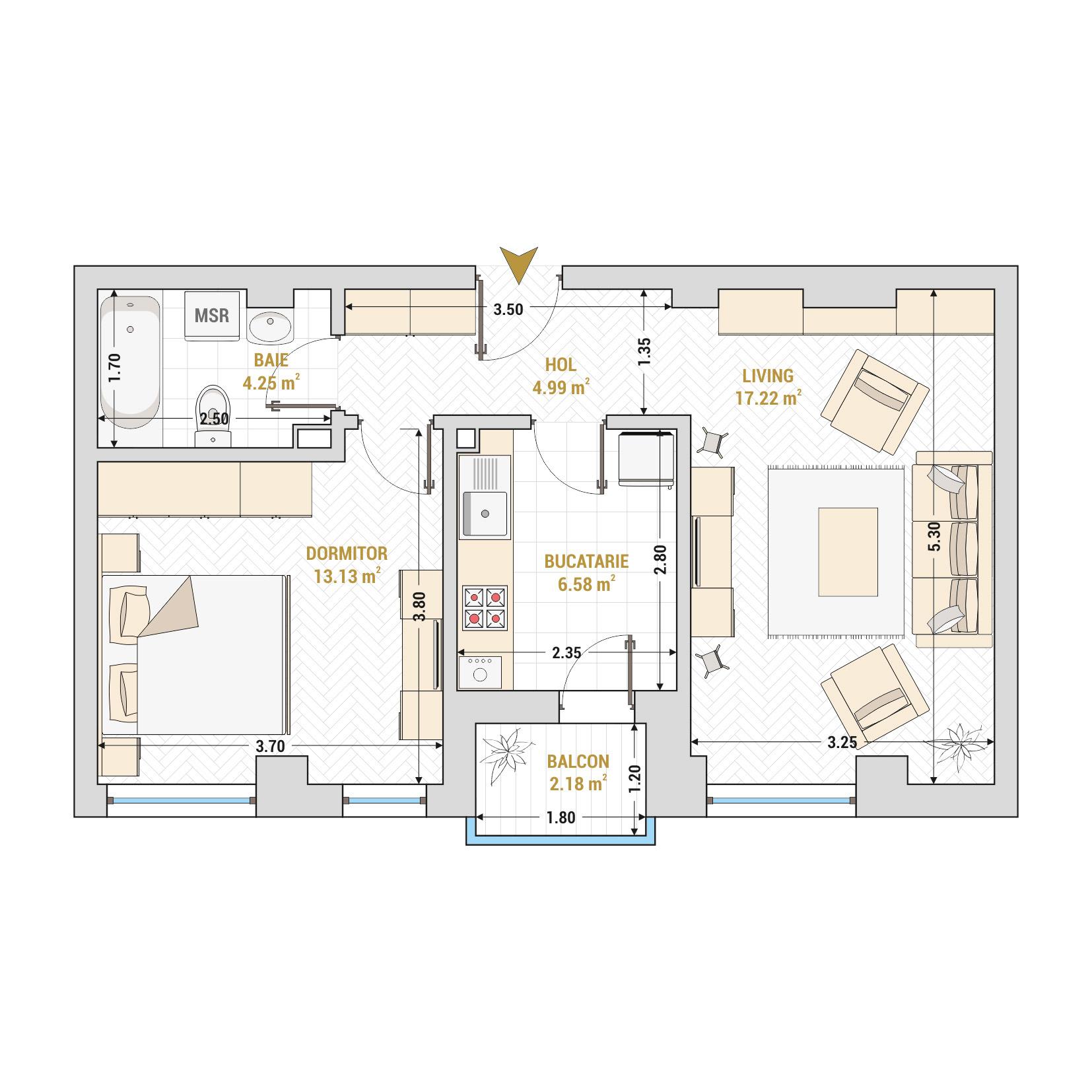 Apartament 2 camere de vanzare Bucuresti - Catedral Residence - Marriott, Piata Unirii, 13 Septembrie, Izvor - Tip 1 - T2