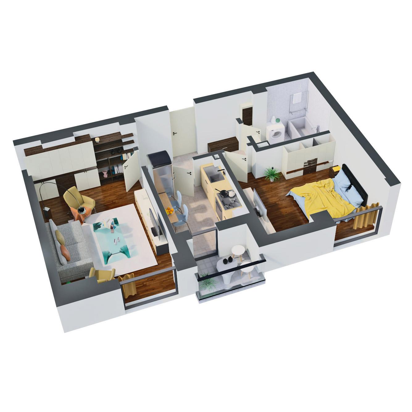 Apartament 2 camere de vanzare Bucuresti - Catedral Residence - Marriott, Piata Unirii, 13 Septembrie, Izvor - Tip 1 - T2A - B