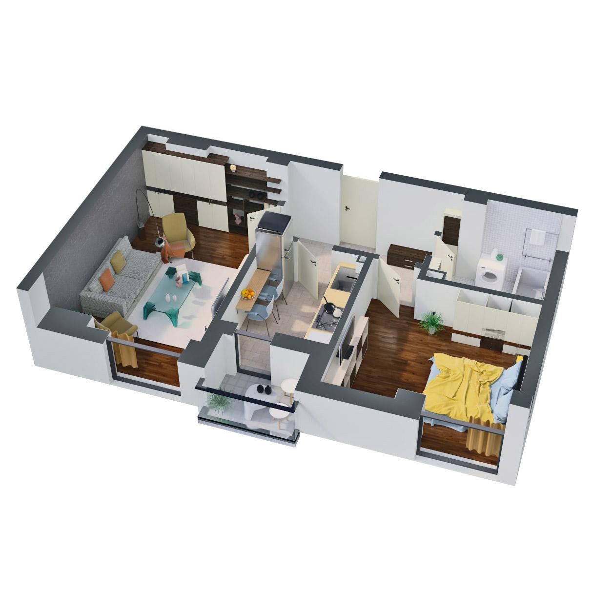 Apartament 2 camere de vanzare Bucuresti - Catedral Residence - Marriott, Piata Unirii, 13 Septembrie, Izvor - Tip 1 - T2A - C