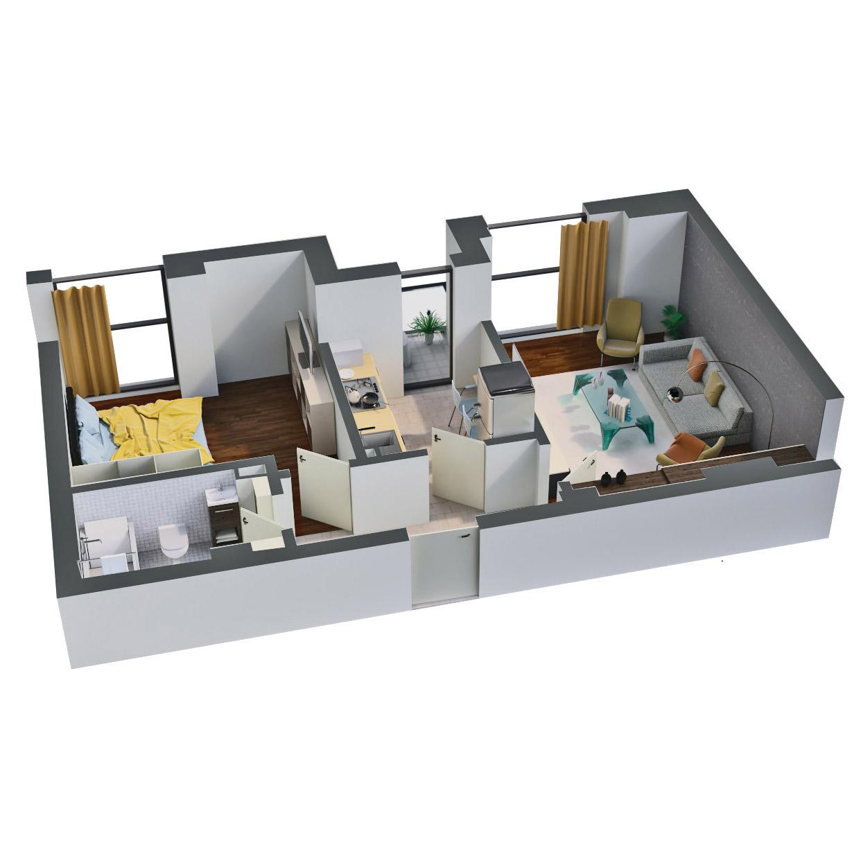 Apartament 2 camere de vanzare Bucuresti - Catedral Residence - Marriott, Piata Unirii, 13 Septembrie, Izvor - Tip 1 - T2A - D