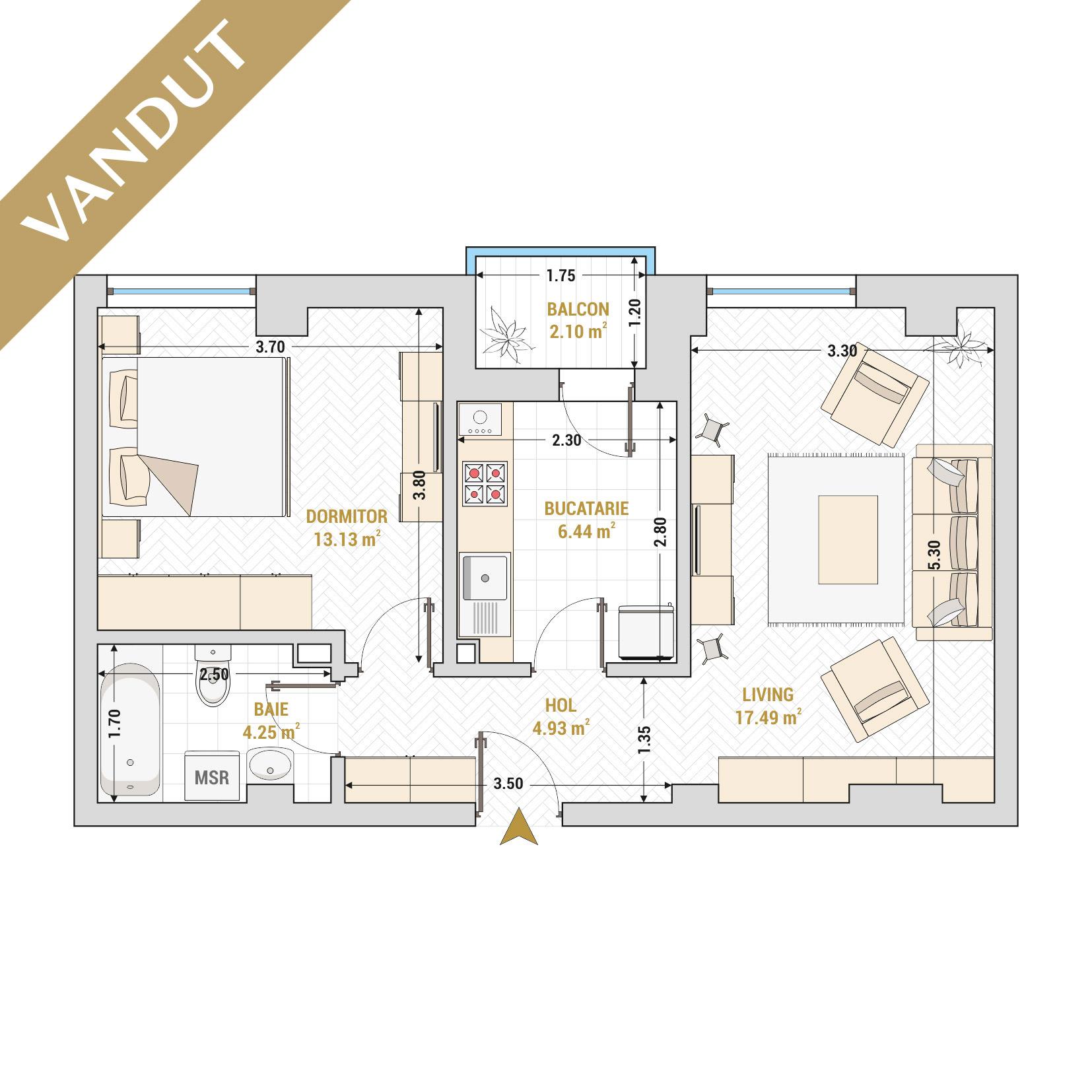 Apartament 2 camere de vanzare Bucuresti - Catedral Residence - Marriott, Piata Unirii, 13 Septembrie, Izvor - Tip 1 - T2A - V