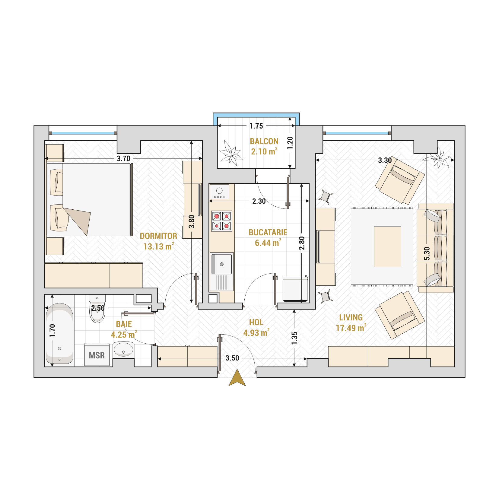 Apartament 2 camere de vanzare Bucuresti - Catedral Residence - Marriott, Piata Unirii, 13 Septembrie, Izvor - Tip 1 - T2A
