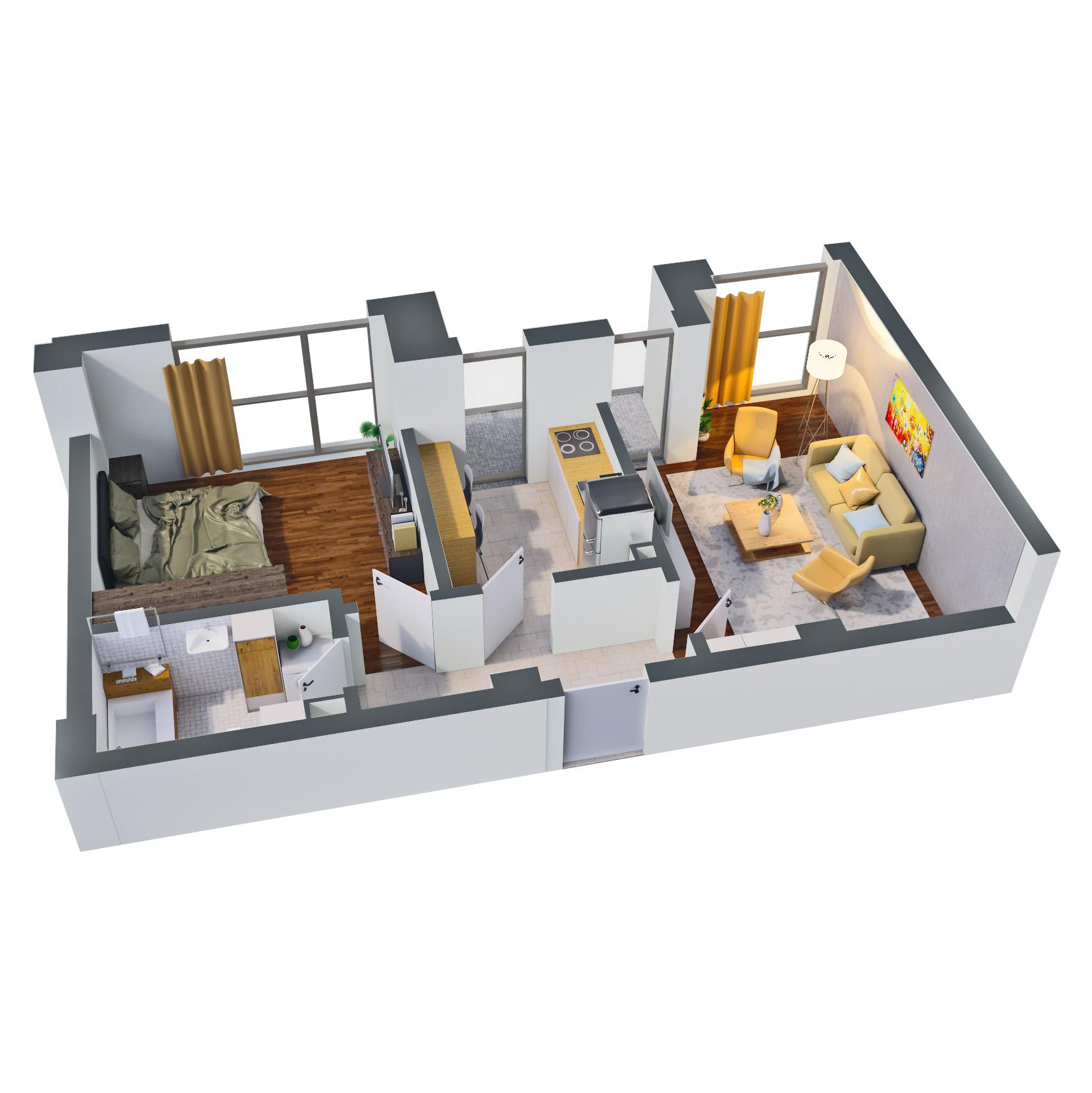 Apartament 2 camere de vanzare Bucuresti - Catedral Residence - Marriott, Piata Unirii, 13 Septembrie, Izvor - Tip 2 - T1 - D