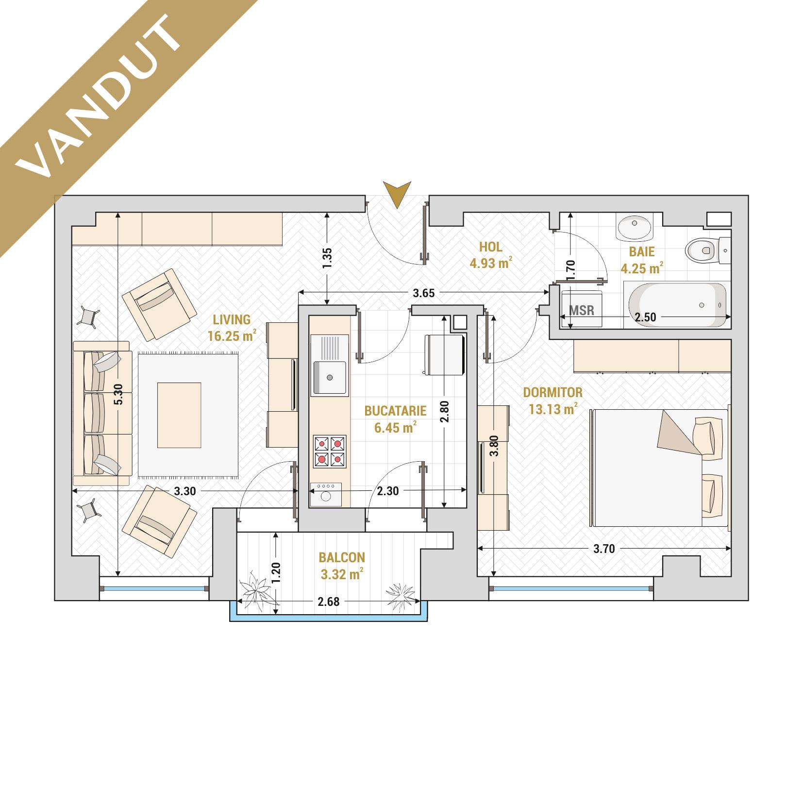 Apartament 2 camere de vanzare Bucuresti - Catedral Residence - Marriott, Piata Unirii, 13 Septembrie, Izvor - Tip 2 - T1 - V