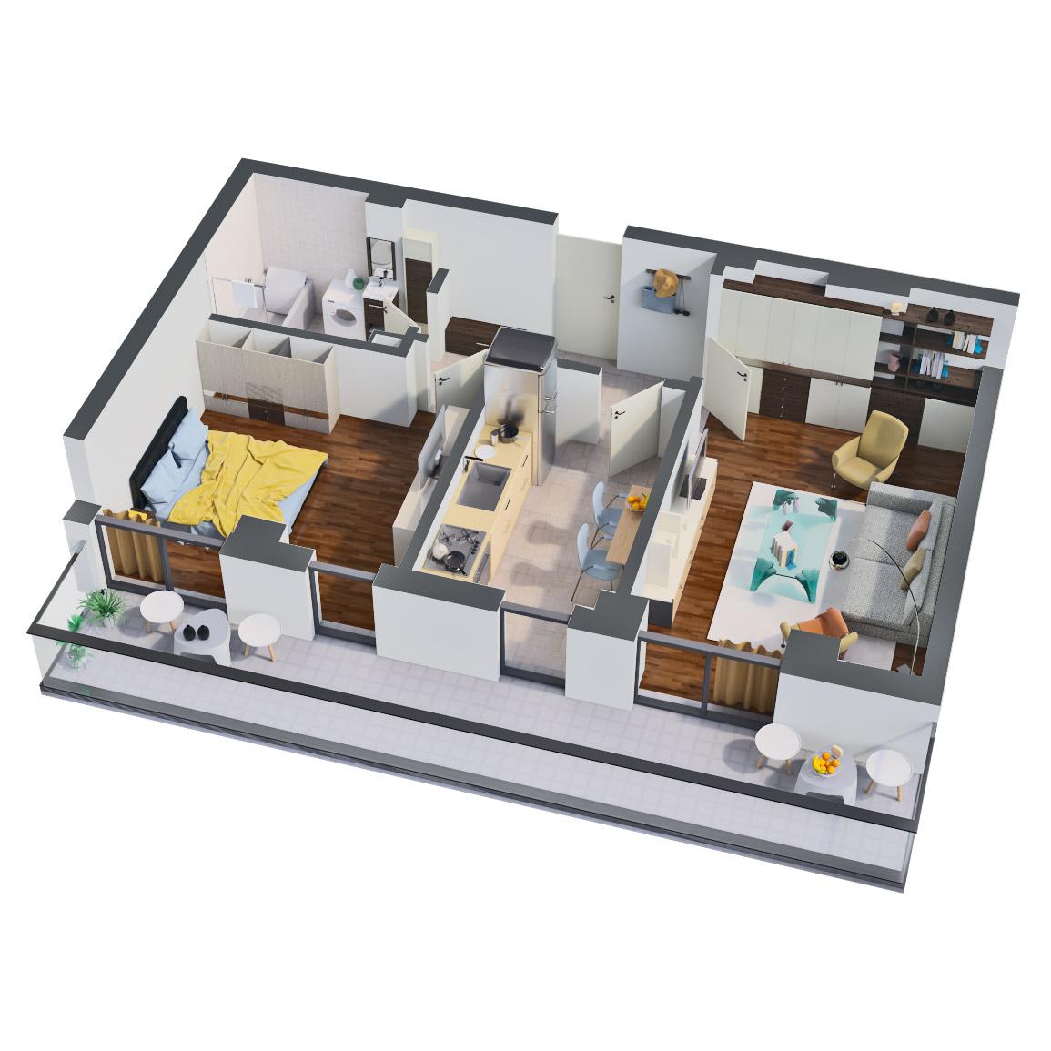 Apartament 2 camere de vanzare Bucuresti - Catedral Residence - Marriott, Piata Unirii, 13 Septembrie, Izvor - Tip 2 - T2 - B