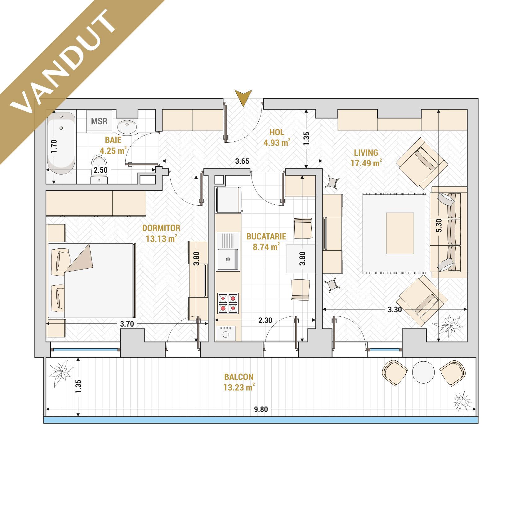 Apartament 2 camere de vanzare Bucuresti - Catedral Residence - Marriott, Piata Unirii, 13 Septembrie, Izvor - Tip 2 - T2 - V