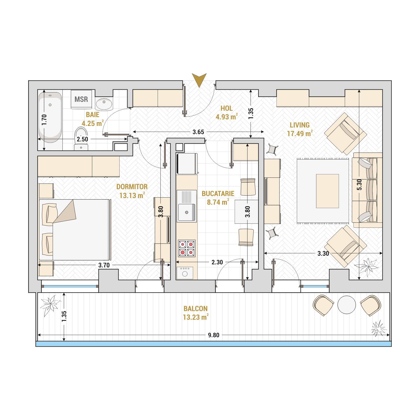 Apartament 2 camere de vanzare Bucuresti - Catedral Residence - Marriott, Piata Unirii, 13 Septembrie, Izvor - Tip 2 - T2