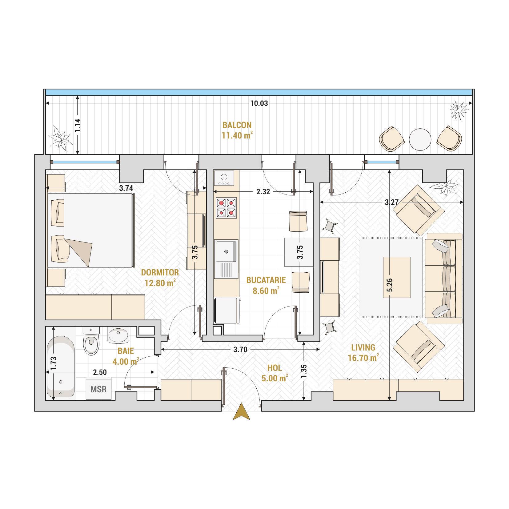 Apartamente cu 2 camere Bucuresti - Catedral Residence - Marriott, Piata Unirii, 13 Septembrie, Izvor - Suprafata utila totala - 58.50 metri patrati