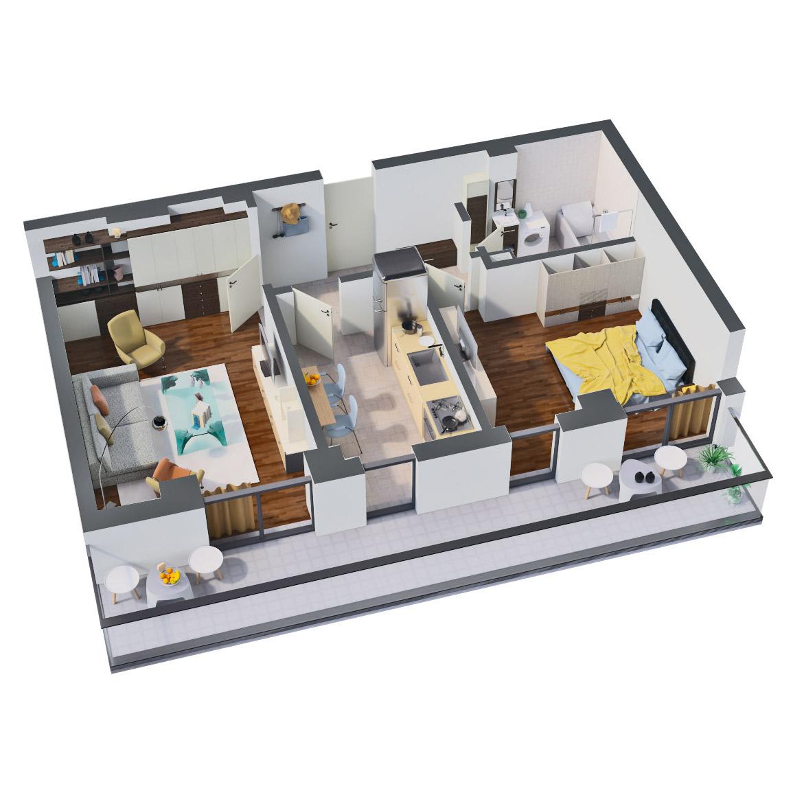 Apartament 2 camere de vanzare Bucuresti - Catedral Residence - Marriott, Piata Unirii, 13 Septembrie, Izvor - Tip 2 - T2A - B