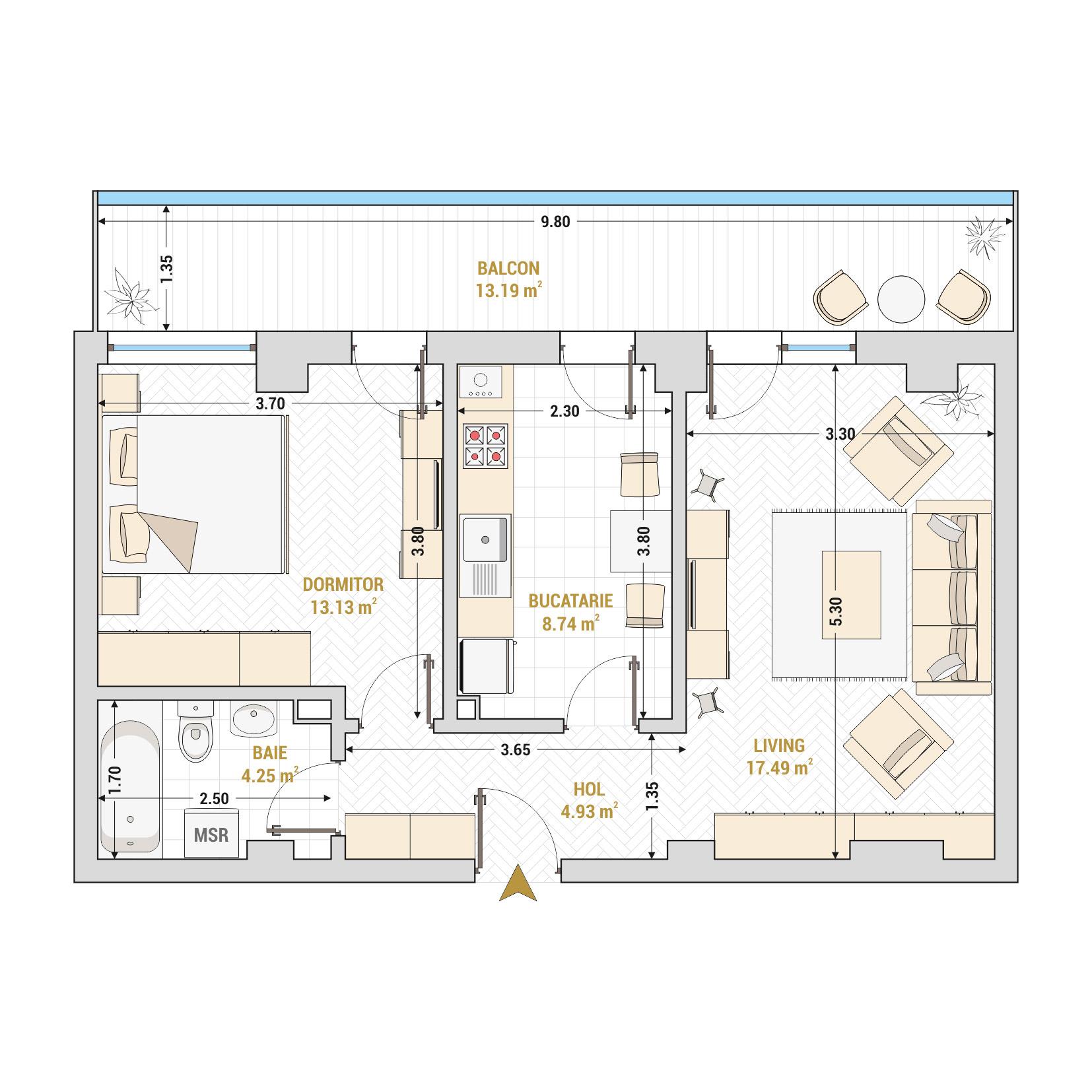 Apartament 2 camere de vanzare Bucuresti - Catedral Residence - Marriott, Piata Unirii, 13 Septembrie, Izvor - Tip 2 - T2A