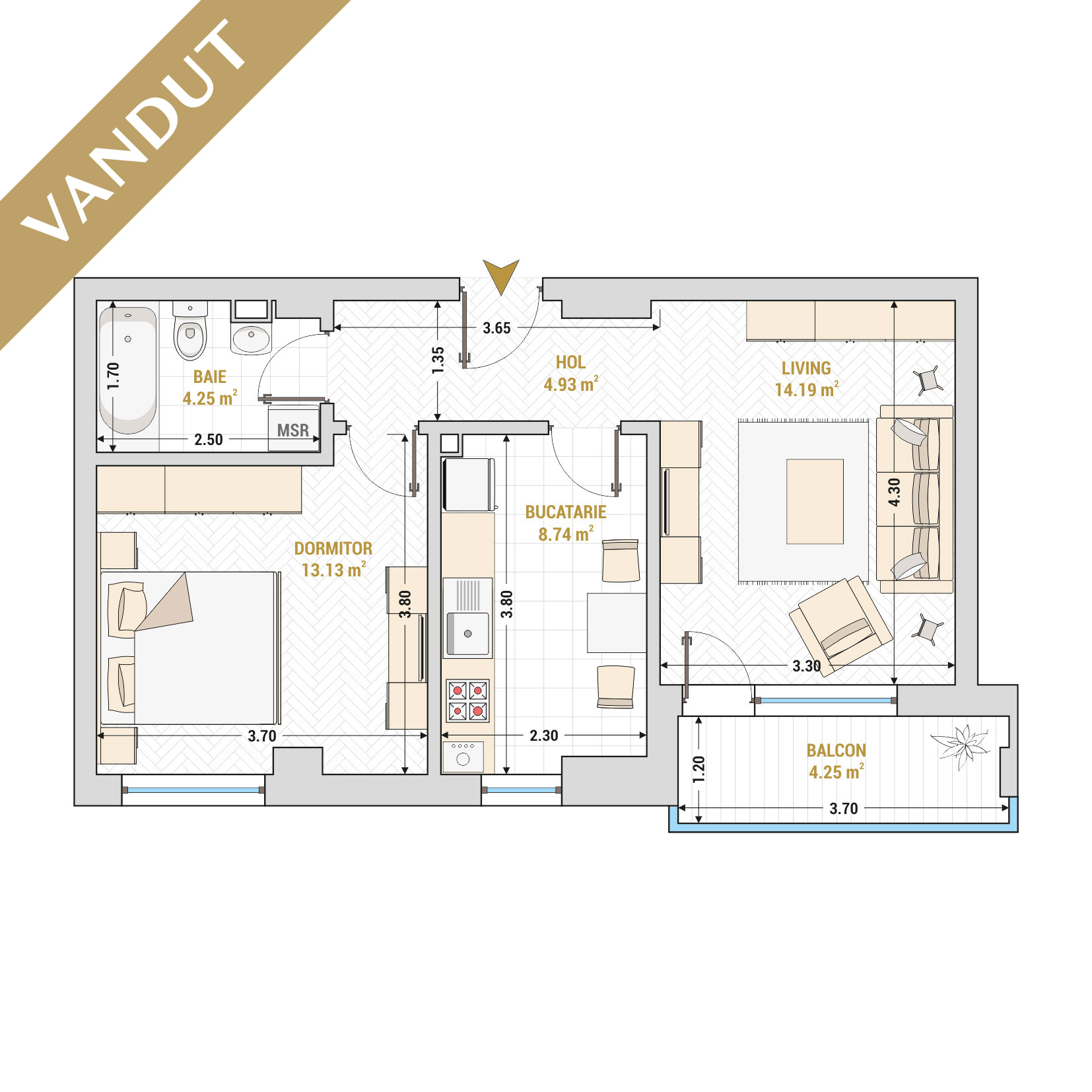 Apartament 2 camere de vanzare Bucuresti - Catedral Residence - Marriott, Piata Unirii, 13 Septembrie, Izvor - Tip 3 - T1 - VANDUT
