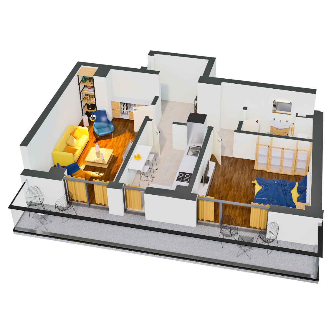 Apartament 2 camere de vanzare Bucuresti - Catedral Residence - Marriott, Piata Unirii, 13 Septembrie, Izvor - Tip 3 - T2 - C