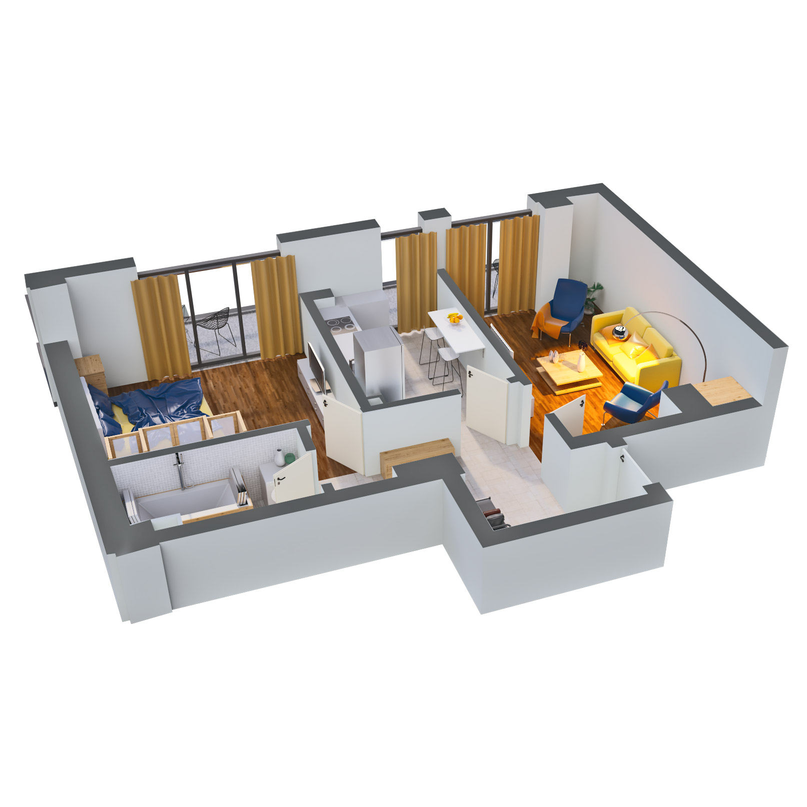 Apartament 2 camere de vanzare Bucuresti - Catedral Residence - Marriott, Piata Unirii, 13 Septembrie, Izvor - Tip 3 - T2 - D