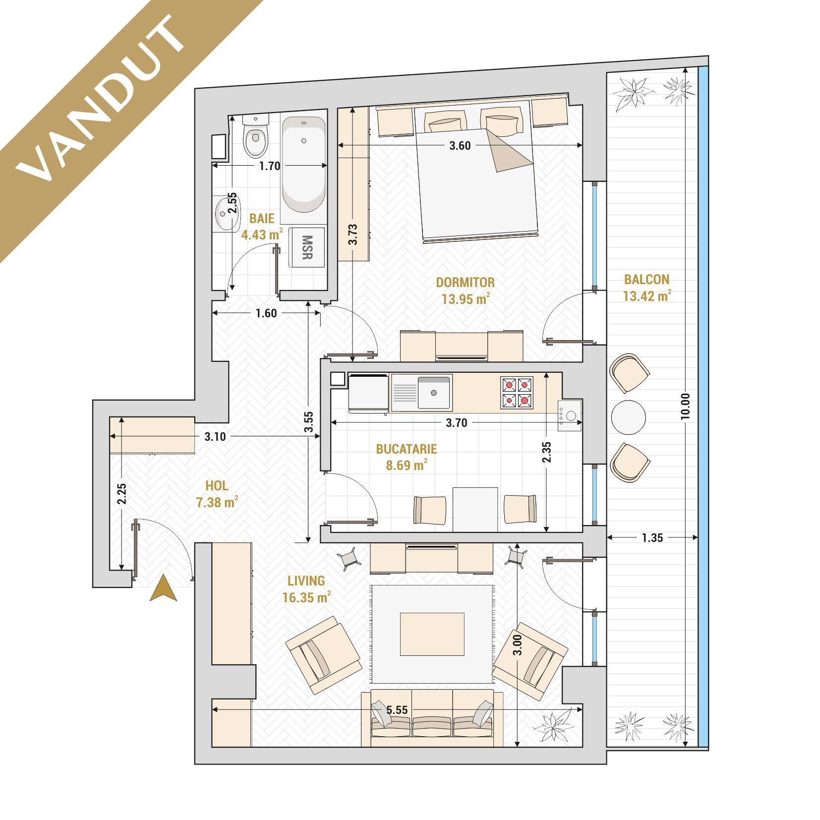 Apartament 2 camere de vanzare Bucuresti - Catedral Residence - Marriott, Piata Unirii, 13 Septembrie, Izvor - Tip 3 - T2 - V