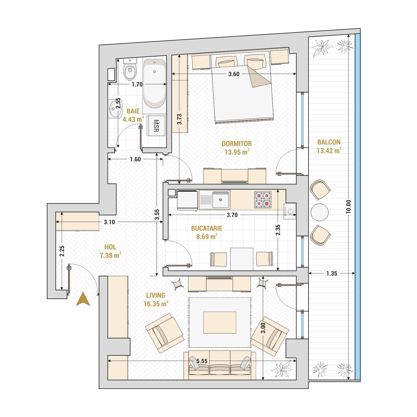 Apartament 2 camere de vanzare Bucuresti - Catedral Residence - Marriott, Piata Unirii, 13 Septembrie, Izvor - Tip 3 - T2