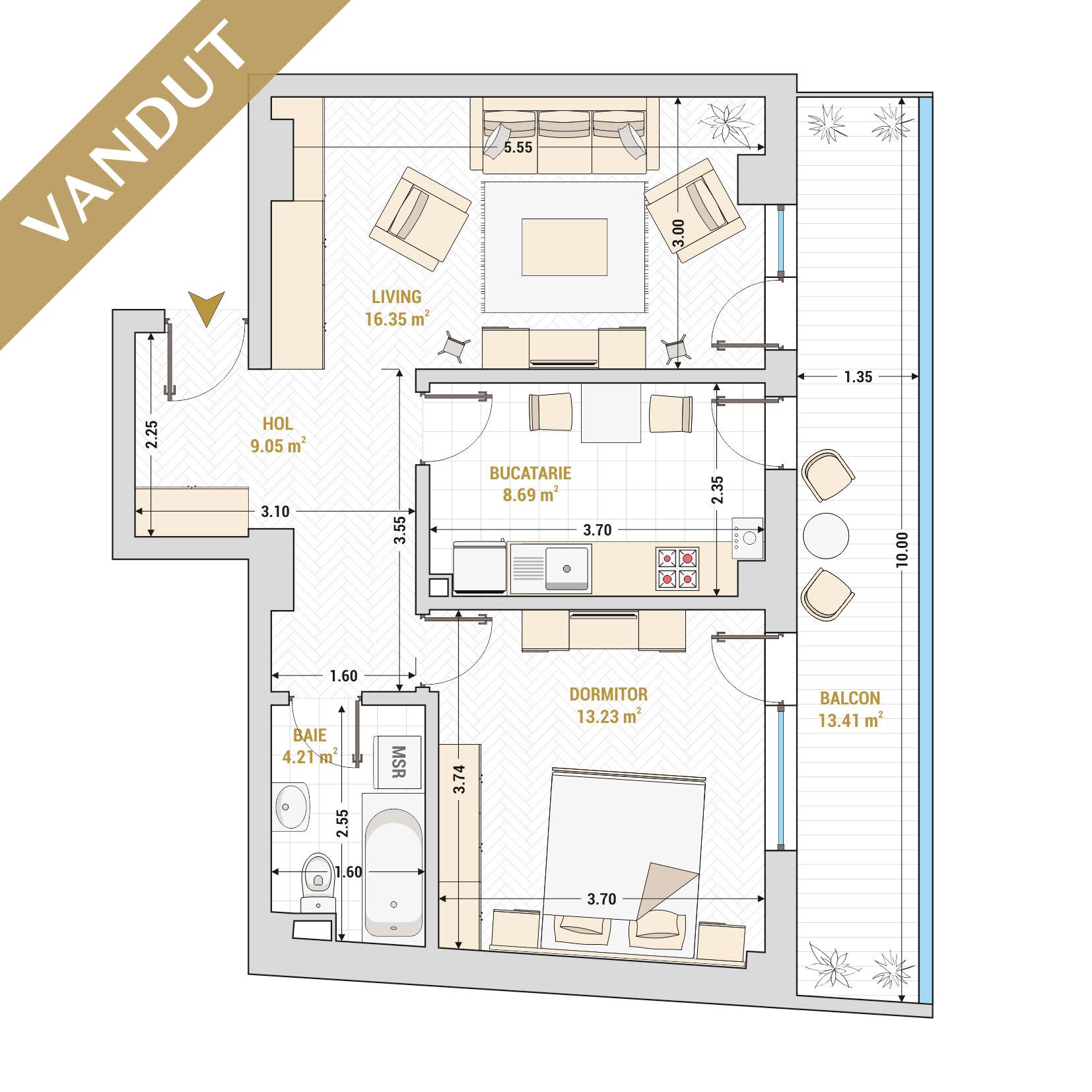 Apartament 2 camere de vanzare Bucuresti - Catedral Residence - Marriott, Piata Unirii, 13 Septembrie, Izvor - Tip 3 - T2A - V