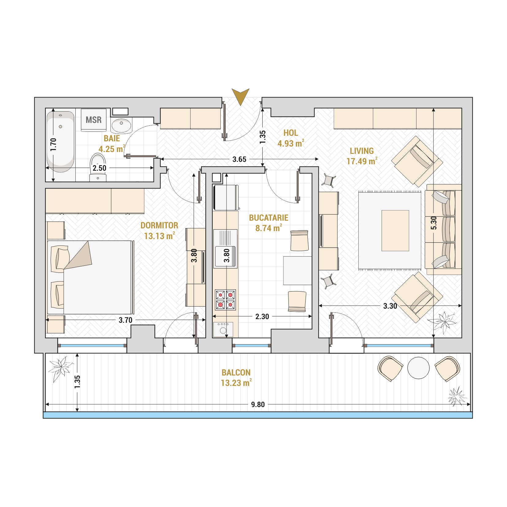 Apartament 2 camere de vanzare Bucuresti - Catedral Residence - Marriott, Piata Unirii, 13 Septembrie, Izvor - Tip 4 - T1