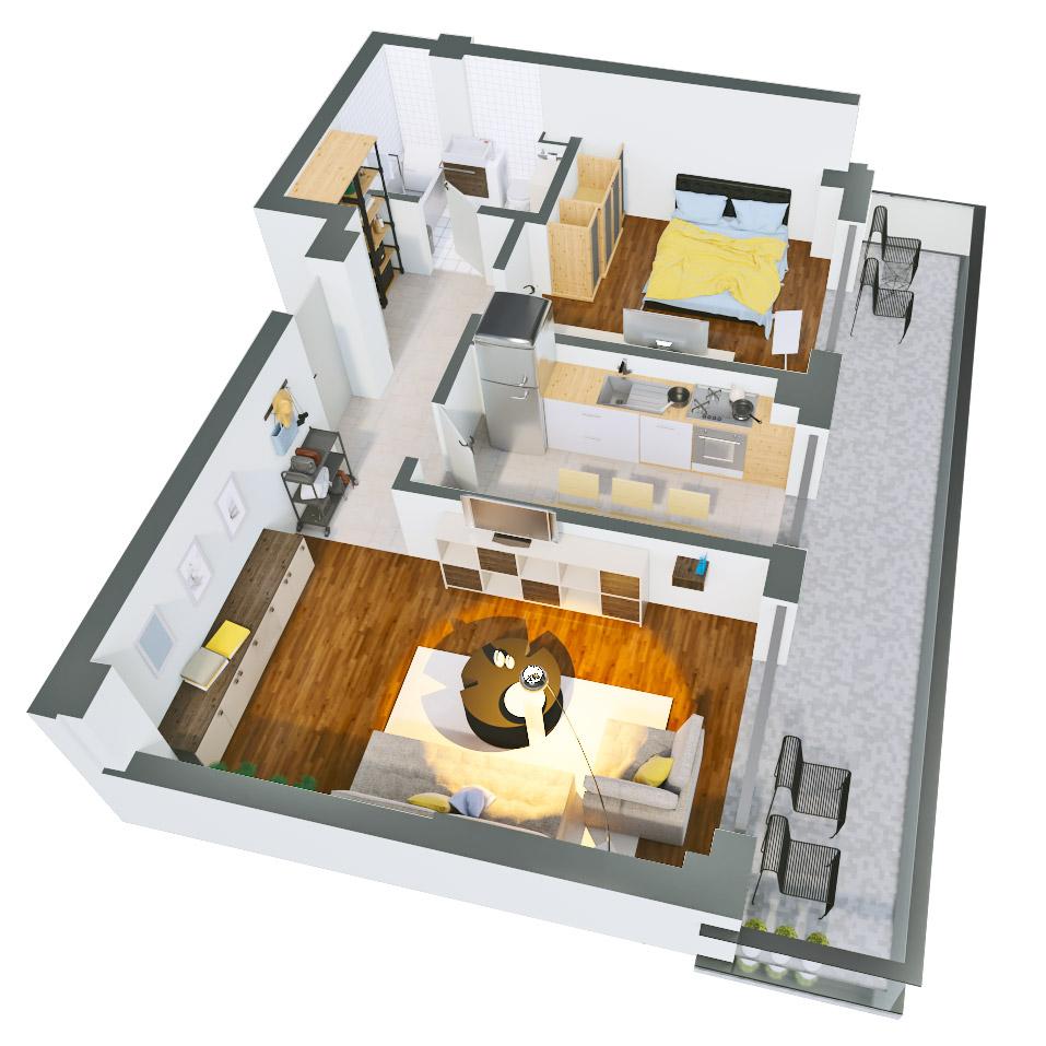 Apartament 2 camere de vanzare Bucuresti - Catedral Residence - Marriott, Piata Unirii, 13 Septembrie, Izvor - Tip 4 - T2 - A