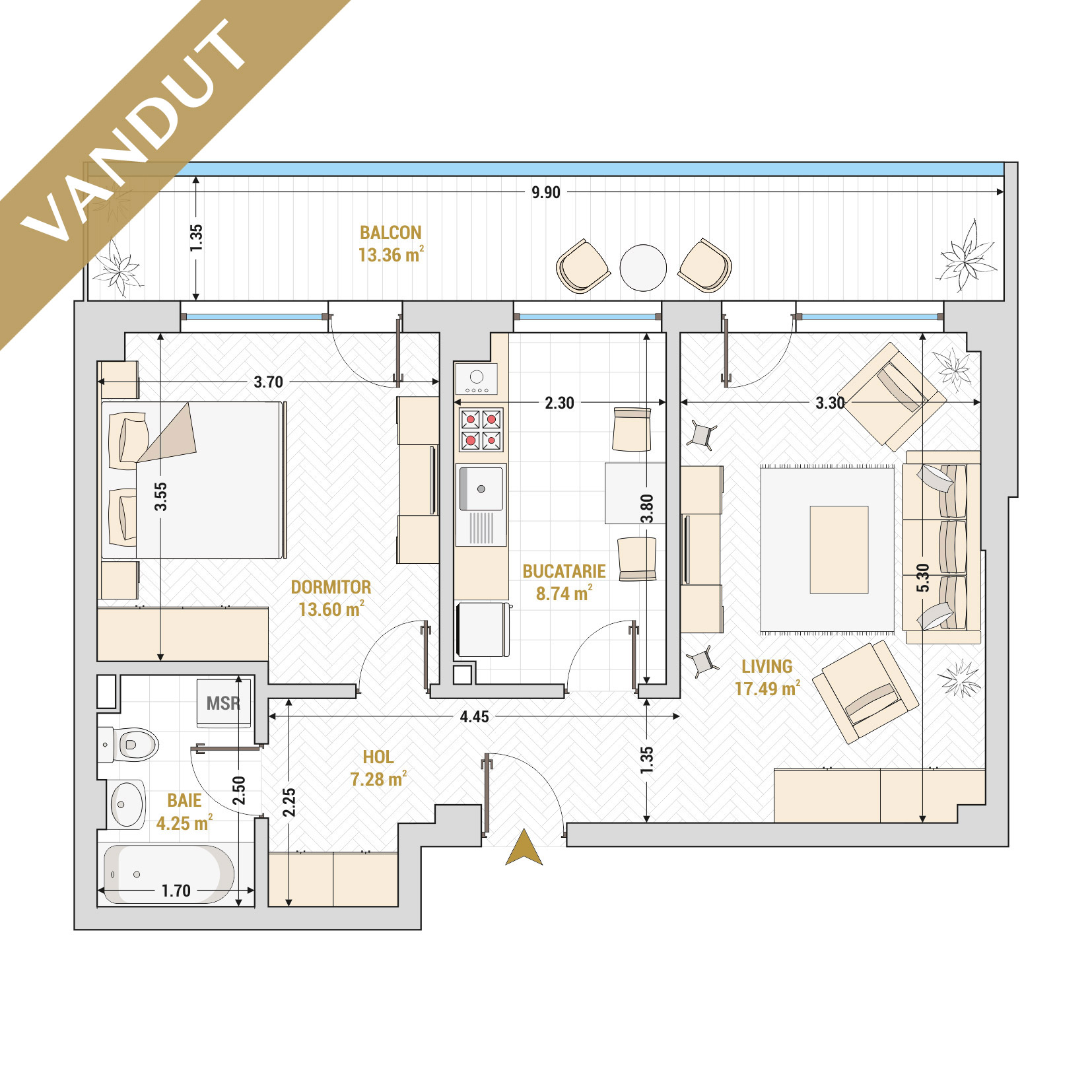 Apartament 2 camere de vanzare Bucuresti - Catedral Residence - Marriott, Piata Unirii, 13 Septembrie, Izvor - Tip 4 - T2 - V