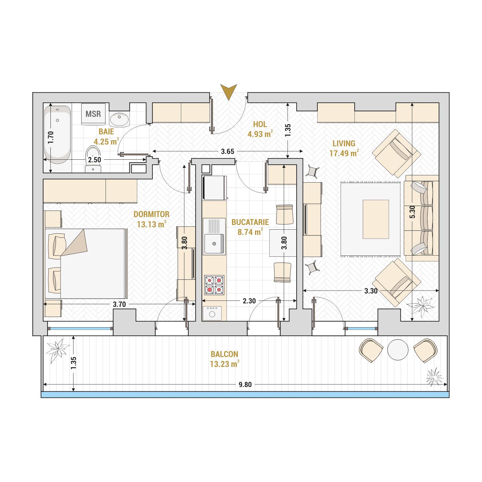 Apartament 2 camere de vanzare Bucuresti - Catedral Residence - Marriott, Piata Unirii, 13 Septembrie, Izvor - Tip 5 - T1