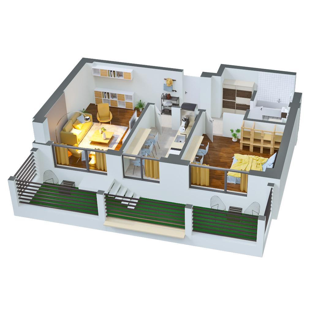 Apartament 2 camere de vanzare Bucuresti - Catedral Residence - Marriott, Piata Unirii, 13 Septembrie, Izvor - Tip 5 - T2 - B