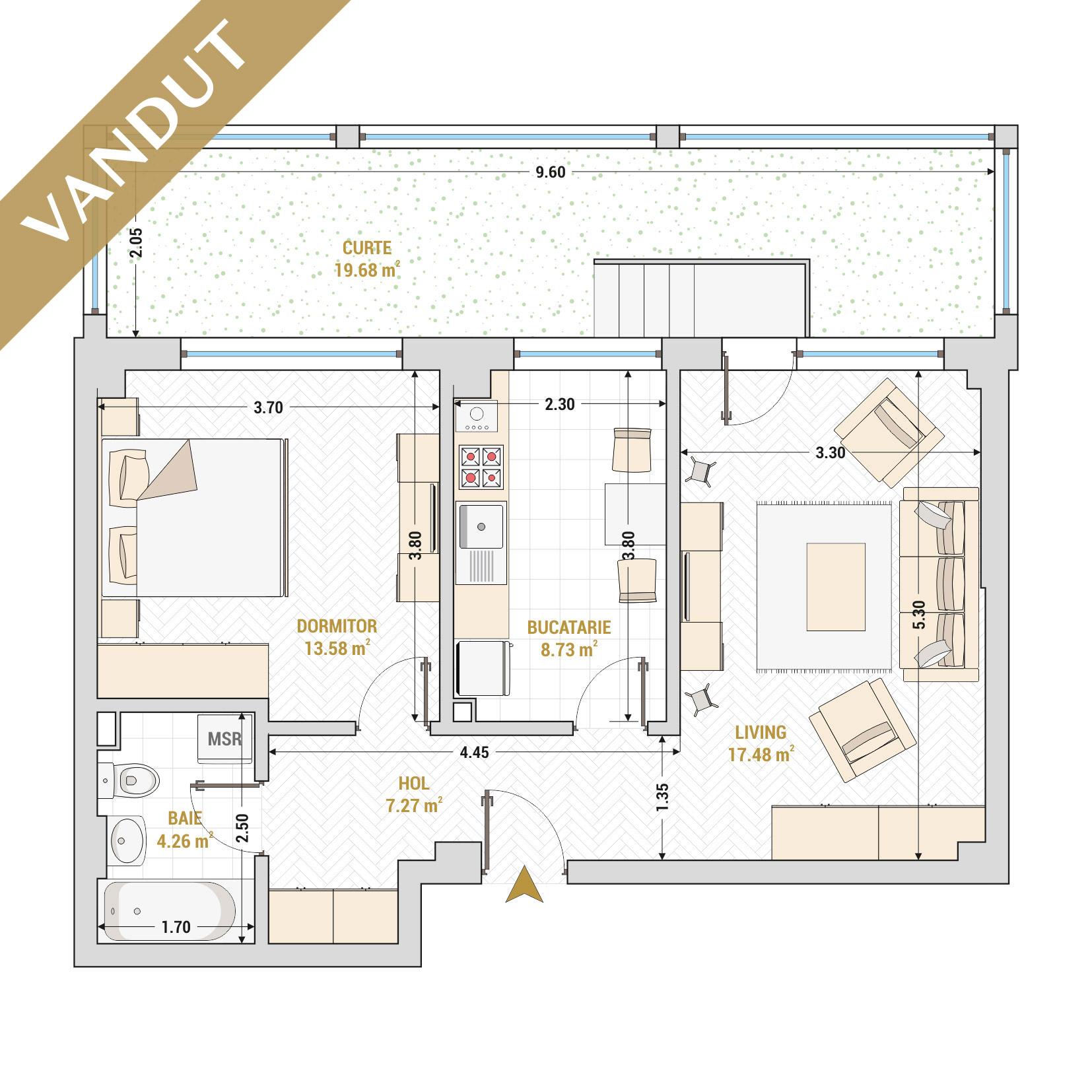 Apartament 2 camere de vanzare Bucuresti - Catedral Residence - Marriott, Piata Unirii, 13 Septembrie, Izvor - Tip 5 - T2 - V