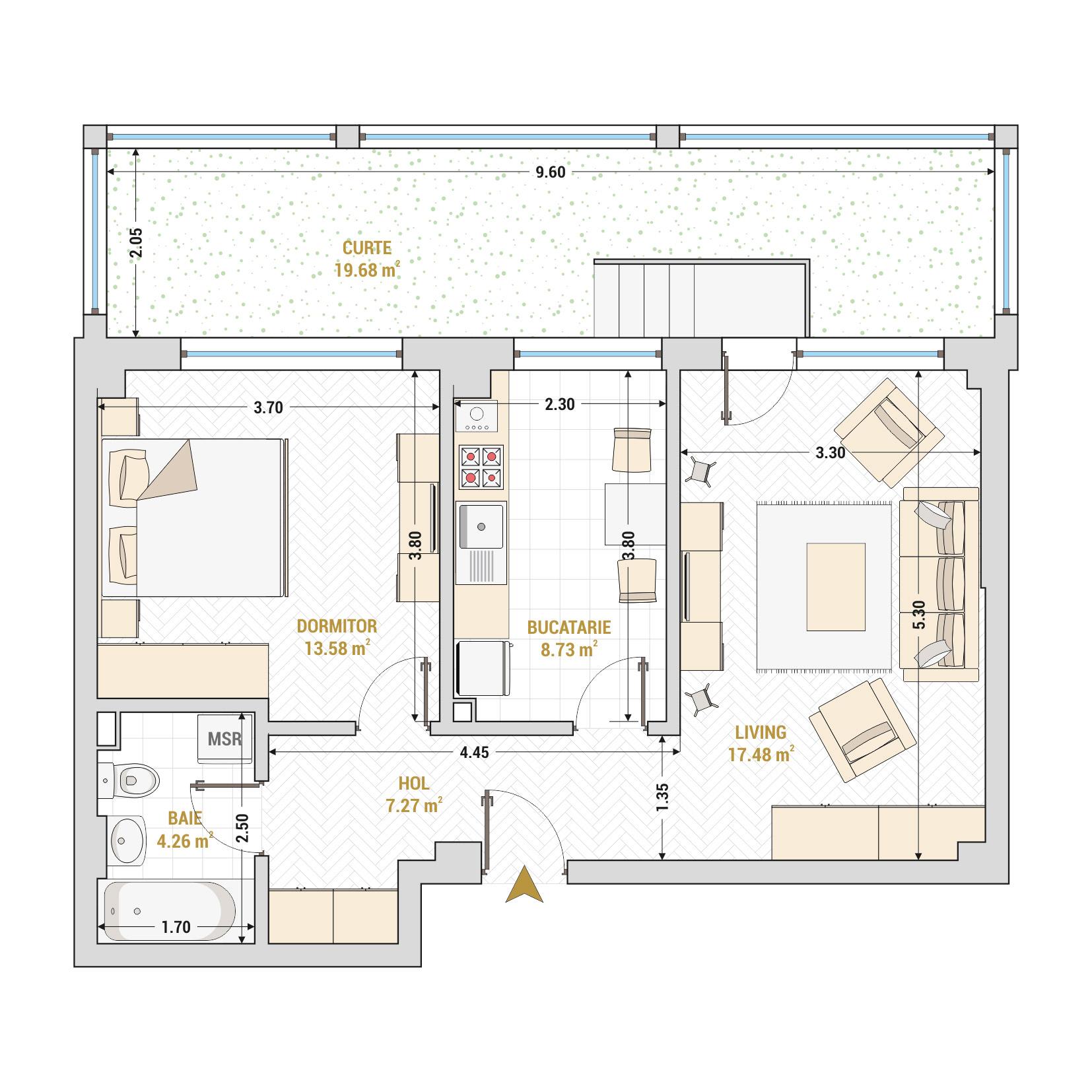 Apartament 2 camere de vanzare Bucuresti - Catedral Residence - Marriott, Piata Unirii, 13 Septembrie, Izvor - Tip 5 - T2