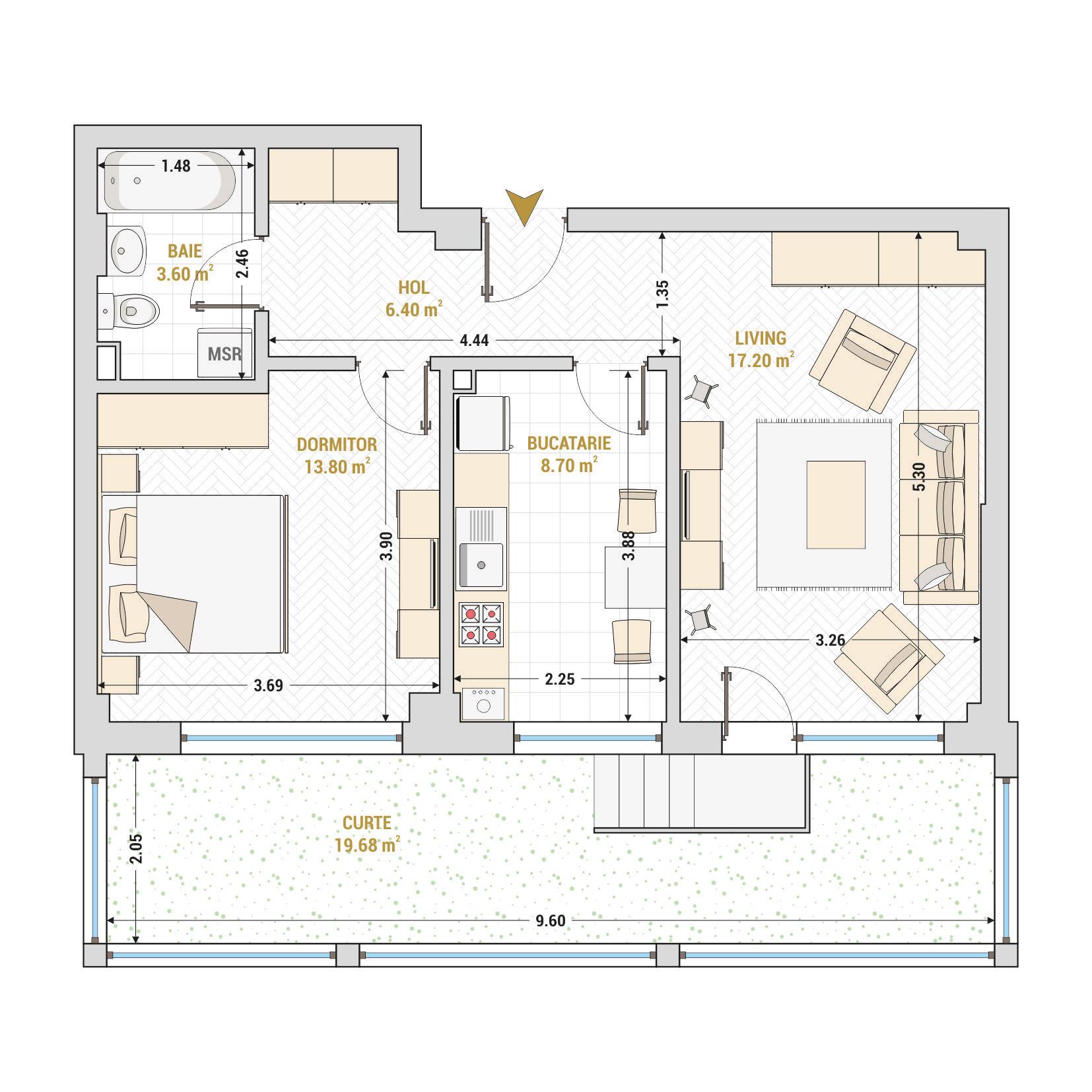 Apartamente cu 2 camere Bucuresti - Catedral Residence - Marriott, Piata Unirii, 13 Septembrie, Izvor - Suprafata utila totala - 69.38 metri patrati