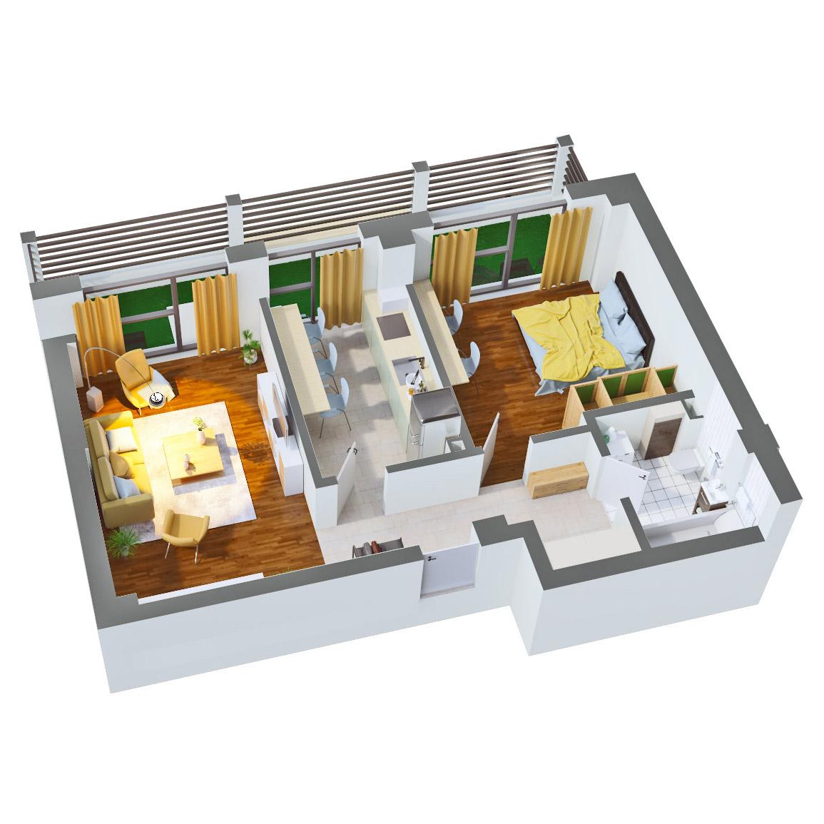 Apartament 2 camere de vanzare Bucuresti - Catedral Residence - Marriott, Piata Unirii, 13 Septembrie, Izvor - Tip 5 - T2A - C
