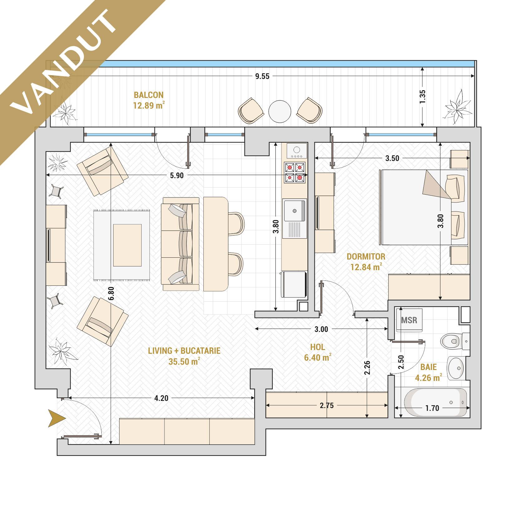 Apartament 2 camere de vanzare Bucuresti - Catedral Residence - Marriott, Piata Unirii, 13 Septembrie, Izvor - Tip 6B - T1 - V
