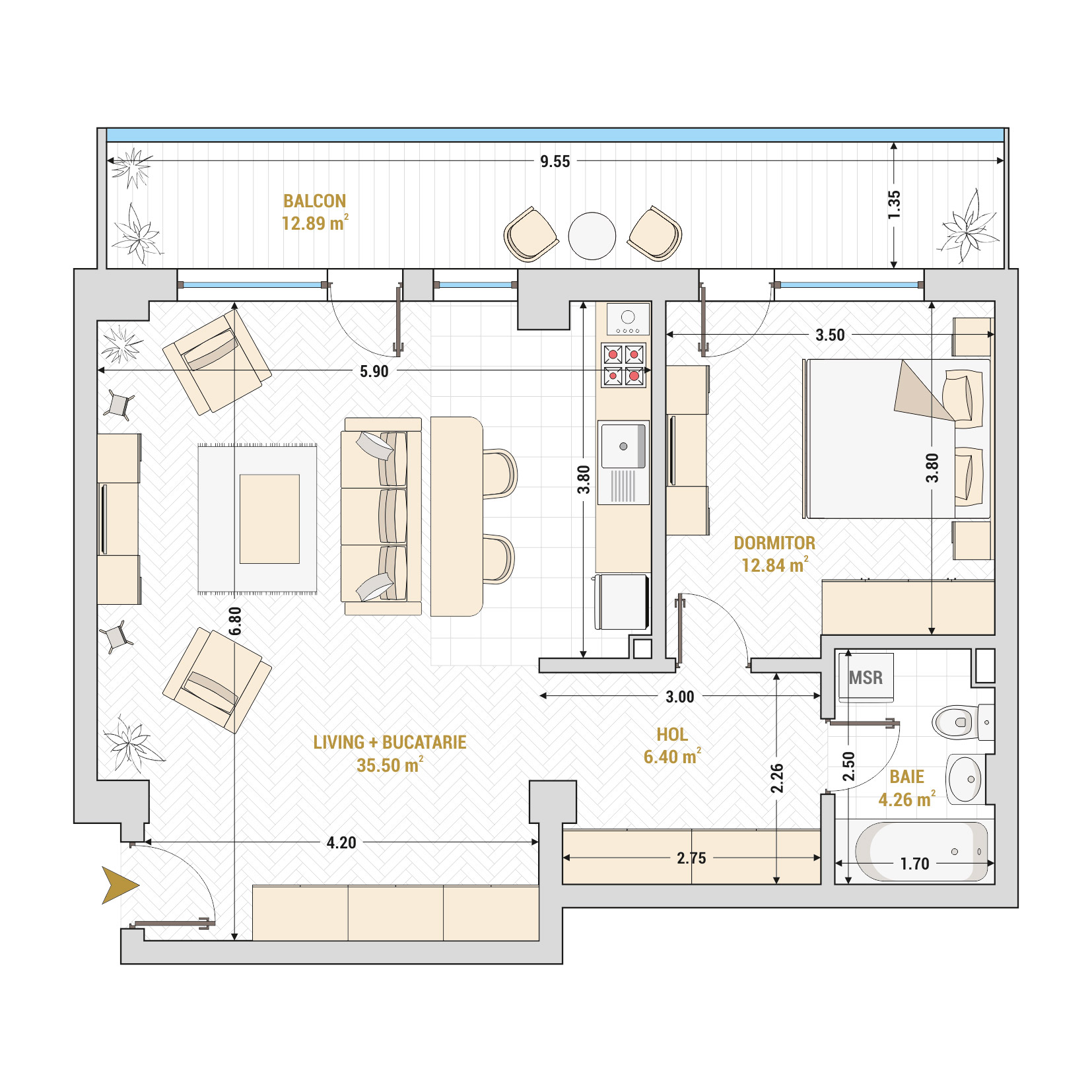 Apartament 2 camere de vanzare Bucuresti - Catedral Residence - Marriott, Piata Unirii, 13 Septembrie, Izvor - Tip 6B - T1
