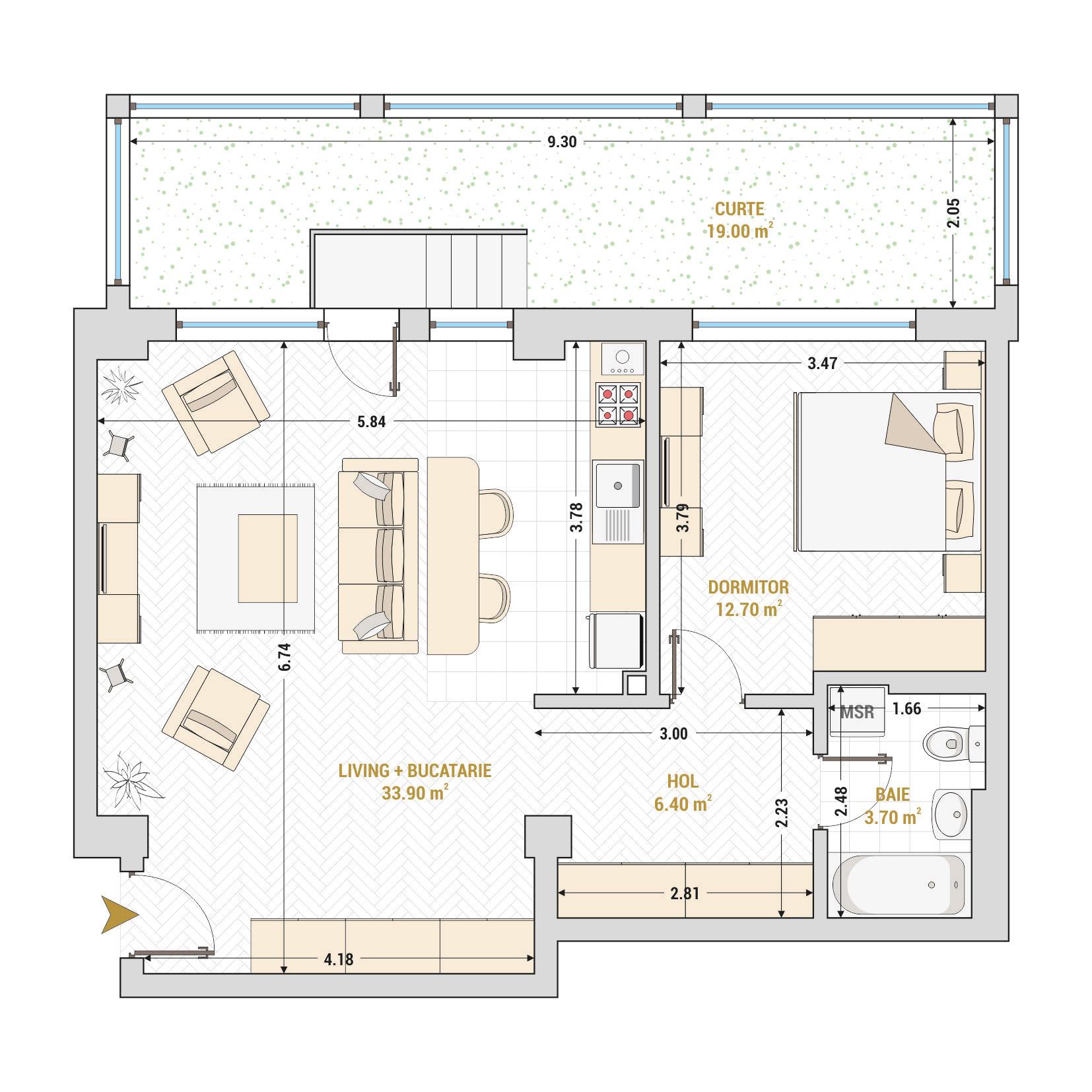 Apartament 2 camere de vanzare Bucuresti - Catedral Residence - Marriott, Piata Unirii, 13 Septembrie, Izvor - Tip 7 - T1