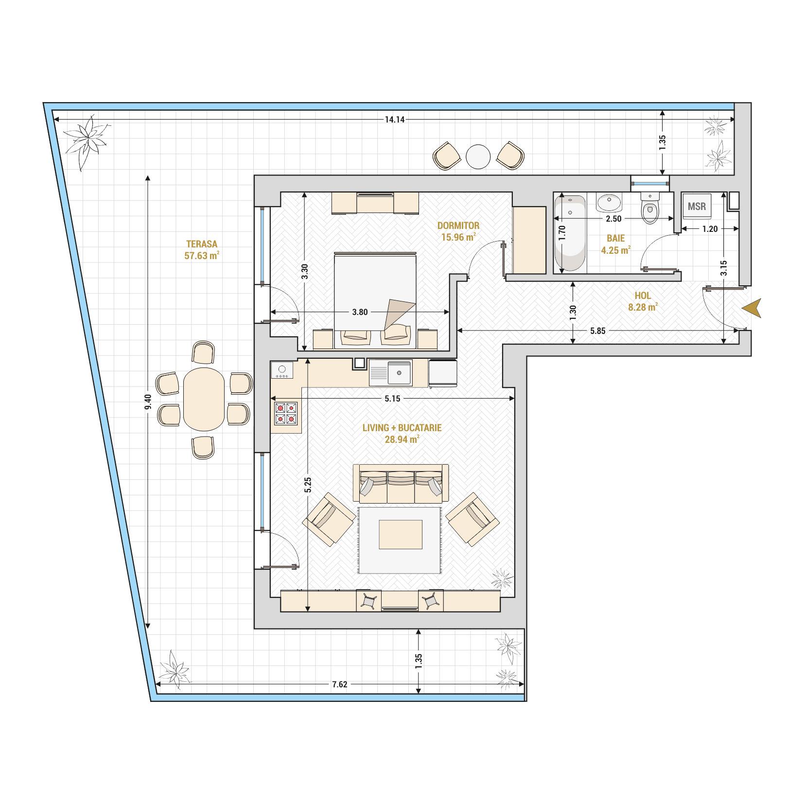 Apartament 2 camere de vanzare Bucuresti - Catedral Residence - Marriott, Piata Unirii, 13 Septembrie, Izvor - Tip 8 - T1