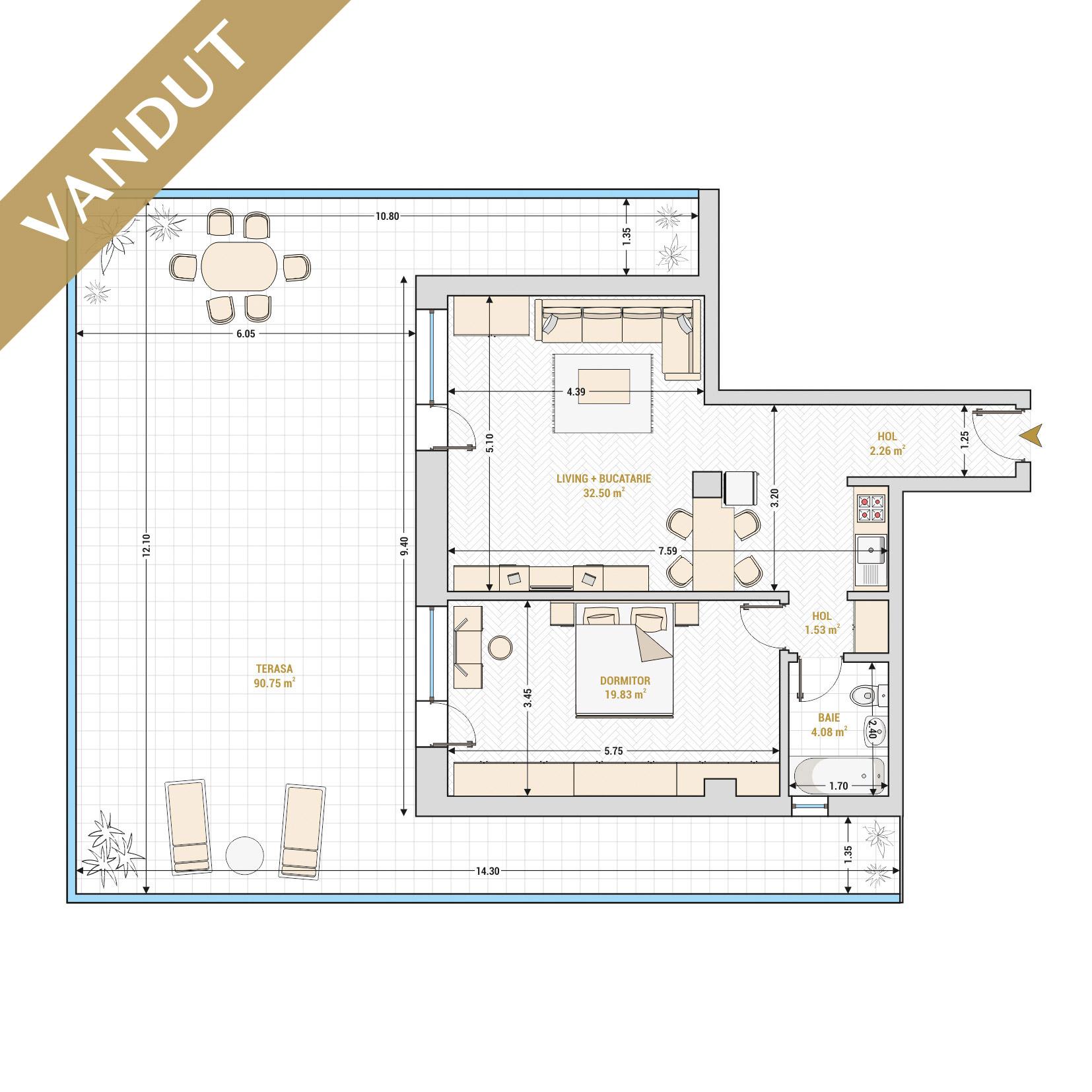 Apartament 2 camere de vanzare Bucuresti - Catedral Residence - Marriott, Piata Unirii, 13 Septembrie, Izvor - Tip 9 - T1 - V
