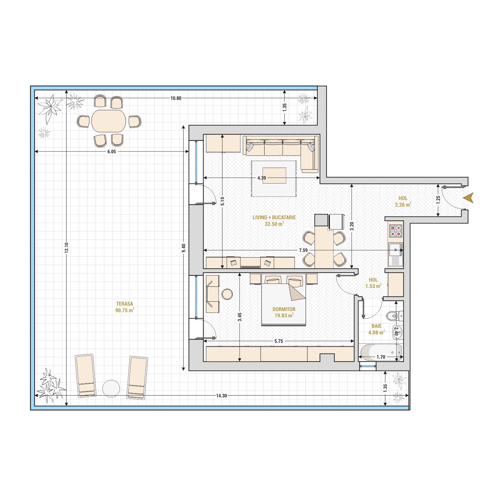 Apartament 2 camere de vanzare Bucuresti - Catedral Residence - Marriott, Piata Unirii, 13 Septembrie, Izvor - Tip 9 - T1