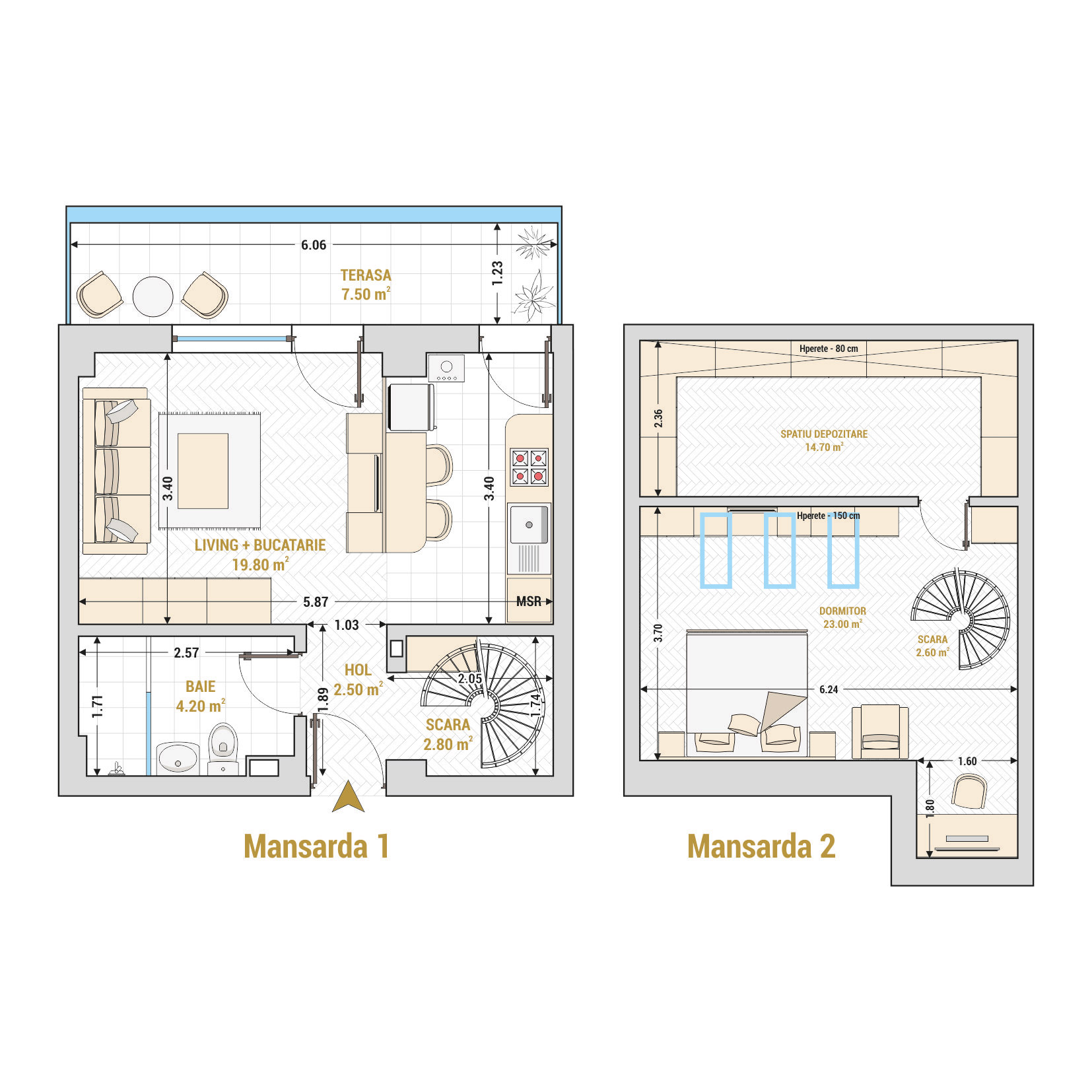 Duplex cu 2 camere Bucuresti - Catedral Residence - Marriott, Piata Unirii, 13 Septembrie, Izvor - Suprafata utila totala - 77.10 metri patrati
