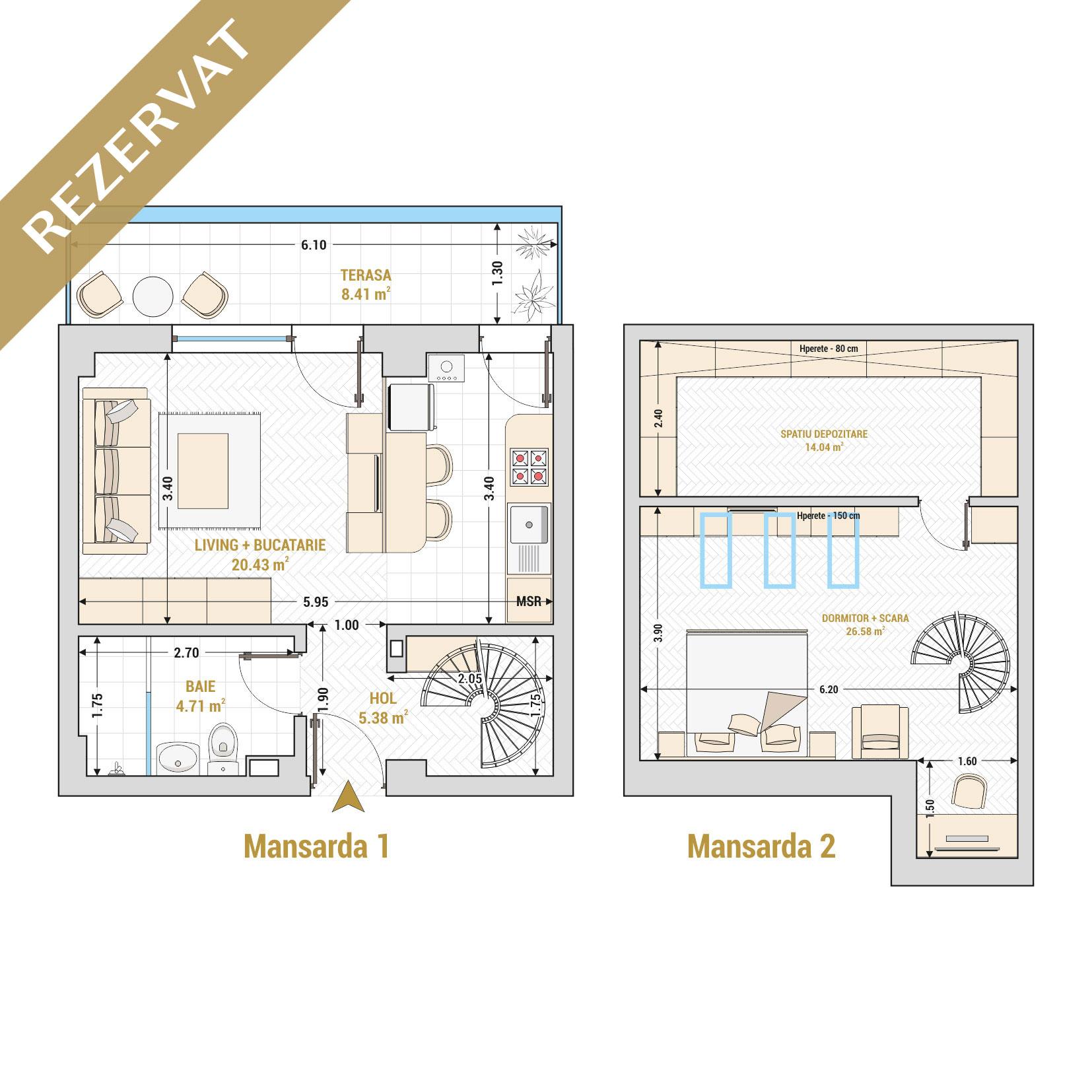 Duplex cu 2 camere de vanzare Bucuresti - Catedral Residence - Marriott, Piata Unirii, 13 Septembrie, Izvor - Tip 1 - T1A - R